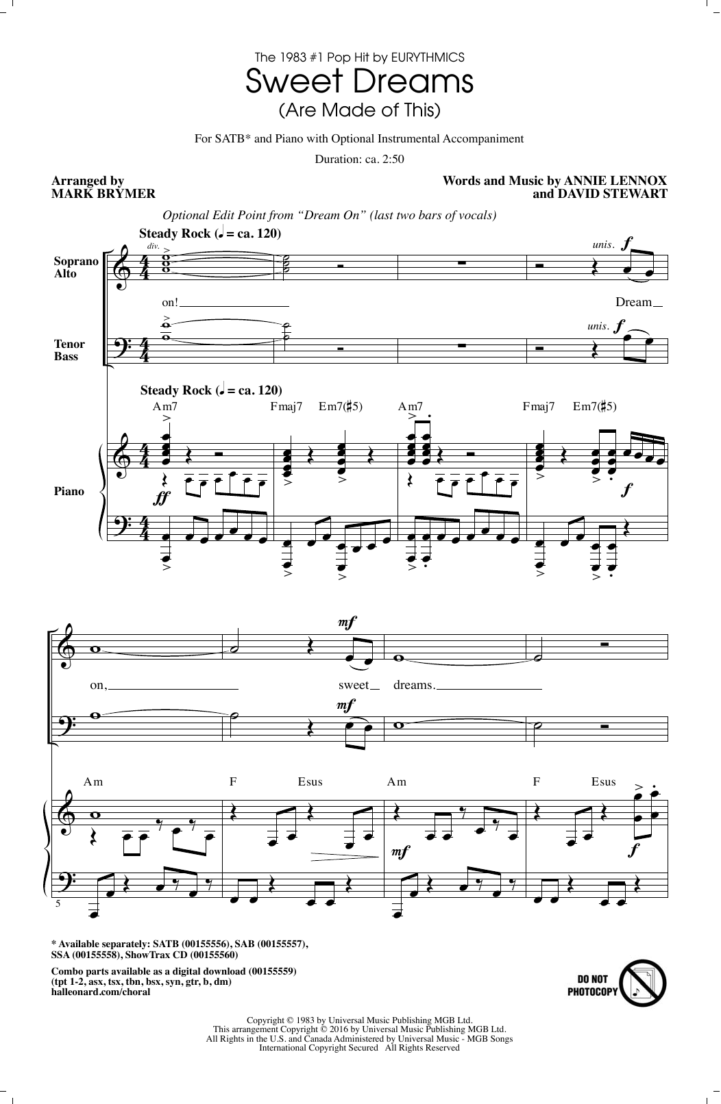 Partition chorale Sweet Dreams (Are Made Of This) de  - SATB