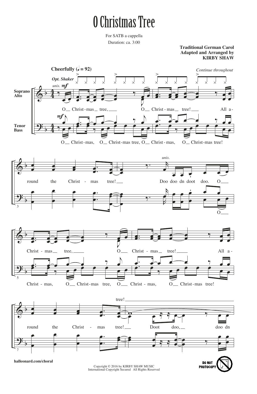 O Christmas Tree Sheet Music | Kirby Shaw | SATB Choir