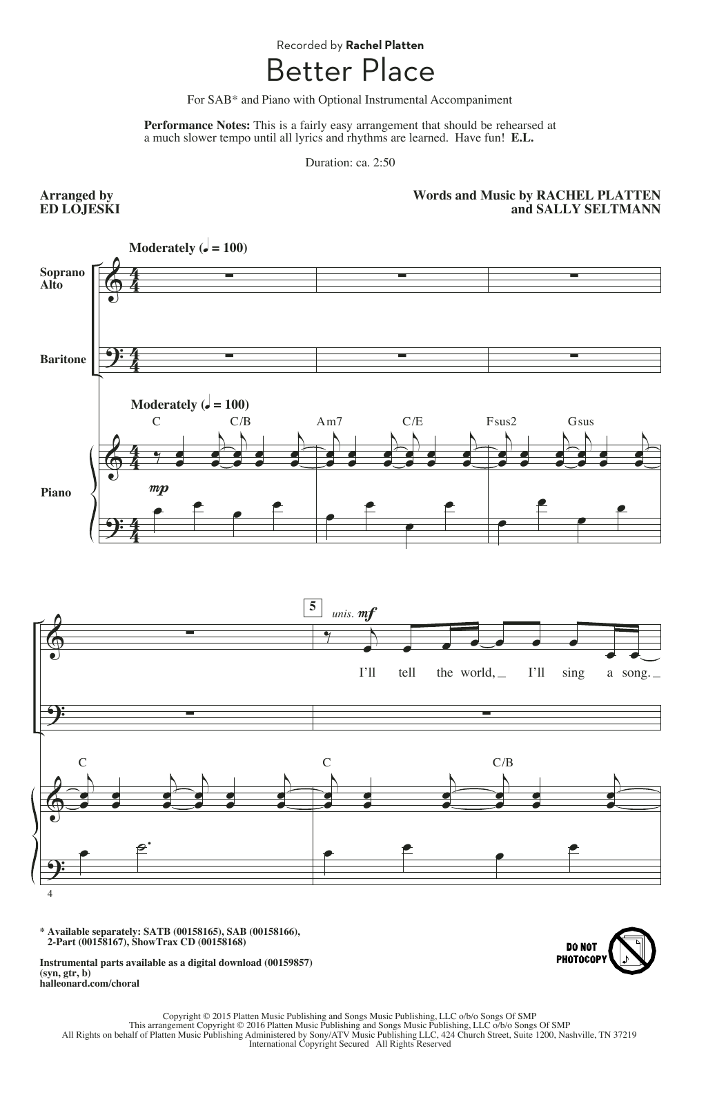 Better Place Sheet Music