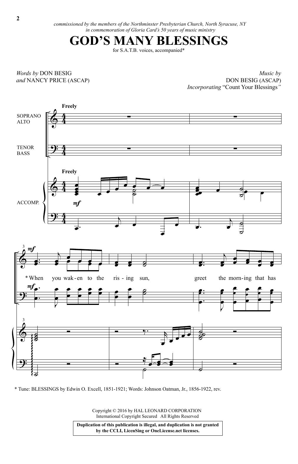 God's Many Blessings (SATB Choir)