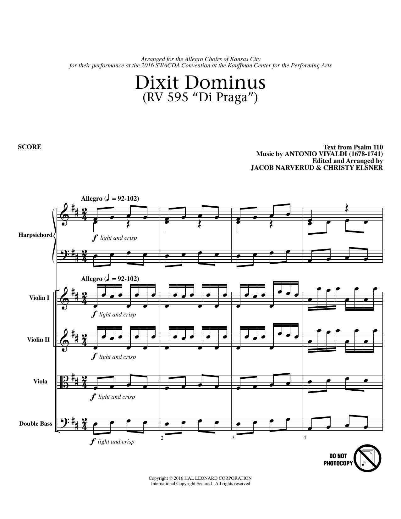 Dixit Dominus Instrumental Parts - Conductor (Choir Instrumental Pak)
