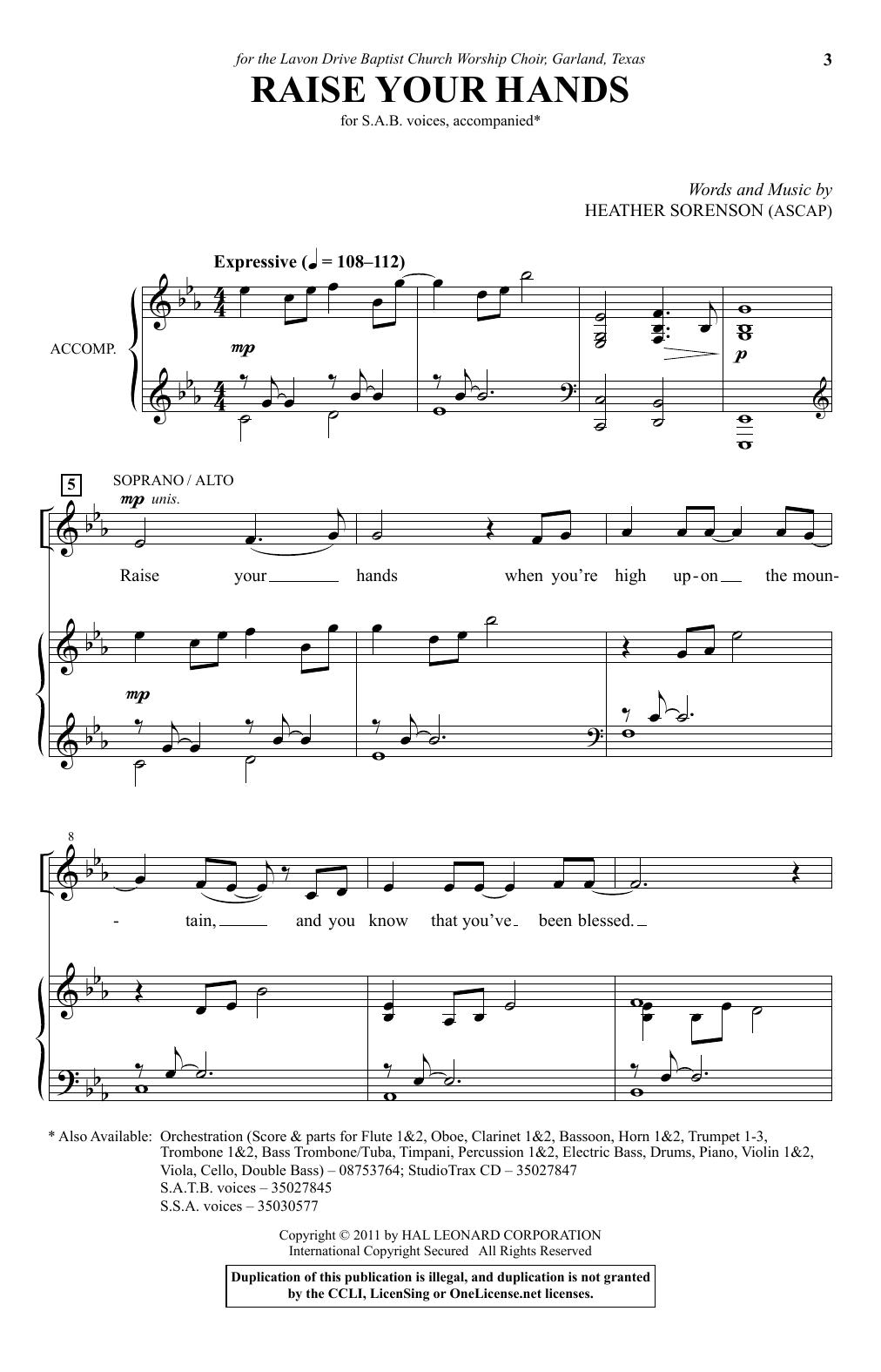 Partition chorale Raise Your Hands de Heather Sorenson - SAB