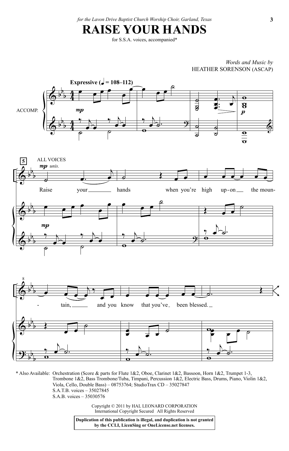 Partition chorale Raise Your Hands de Heather Sorenson - SSA