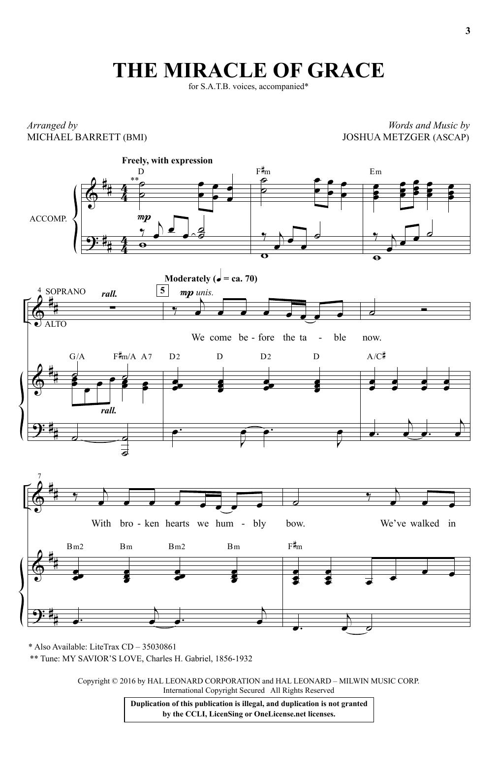 The Miracle Of Grace (arr. Michael Barrett) (SATB Choir)