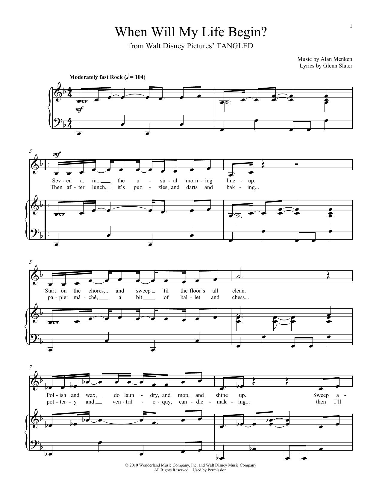 Partition piano When Will My Life Begin? de Glenn Slater - Piano Voix