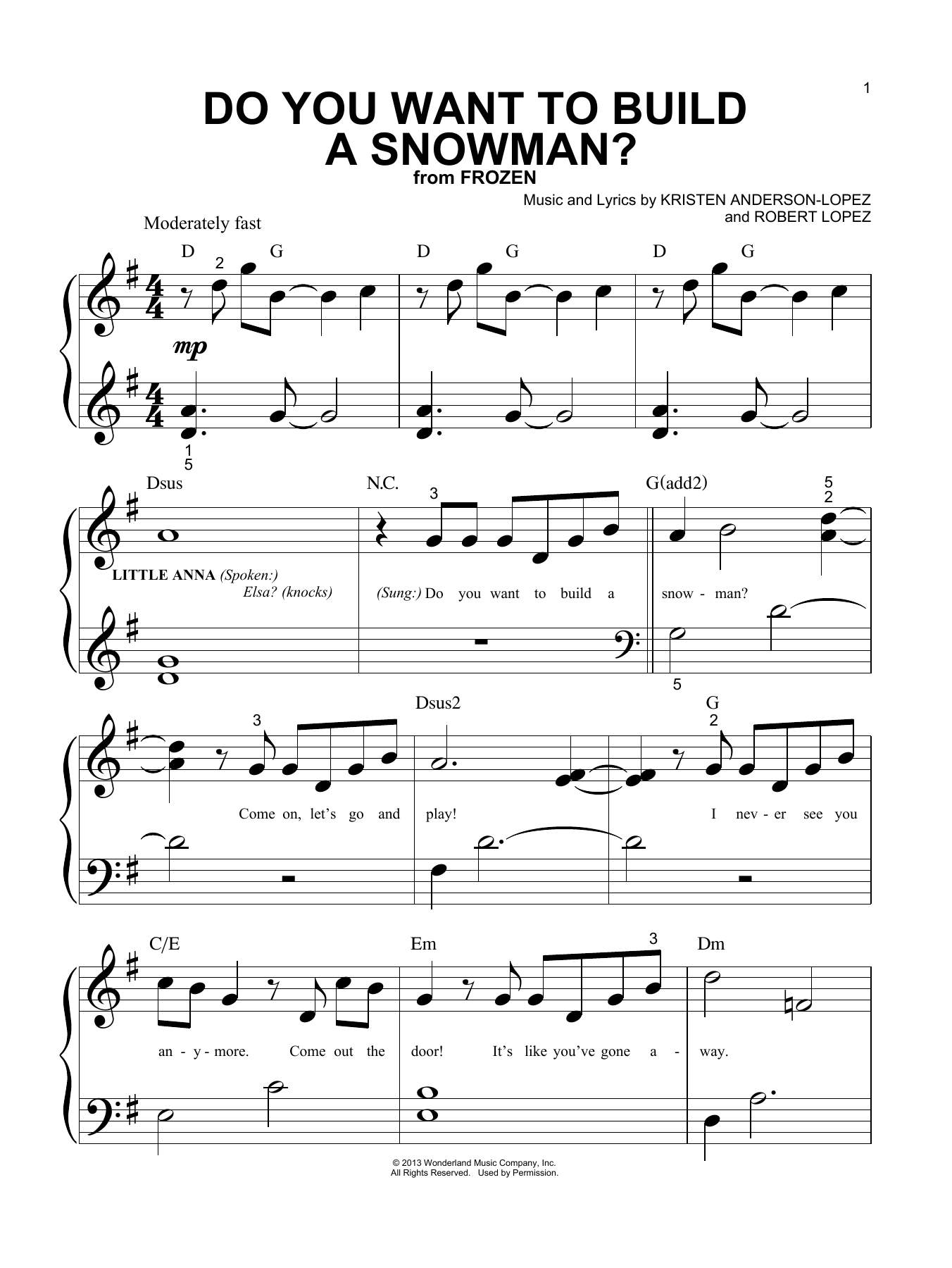 Do You Want To Build A Snowman? (from Disney's Frozen) (Big Note Piano)