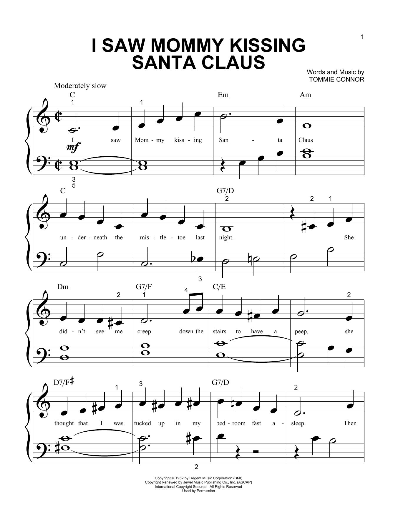 I Saw Mommy Kissing Santa Claus (Big Note Piano)