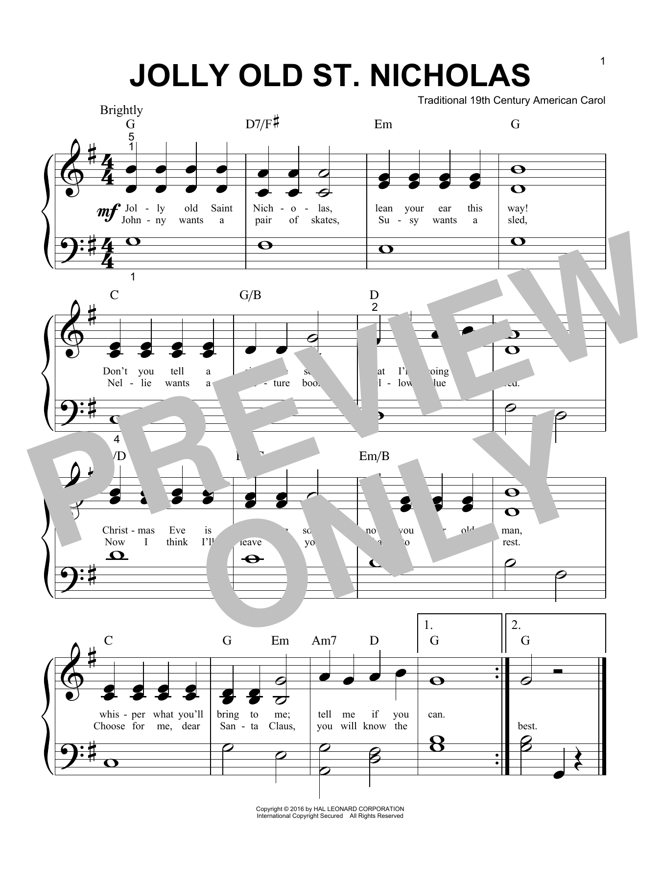 Jolly Old St. Nicholas (Big Note Piano)