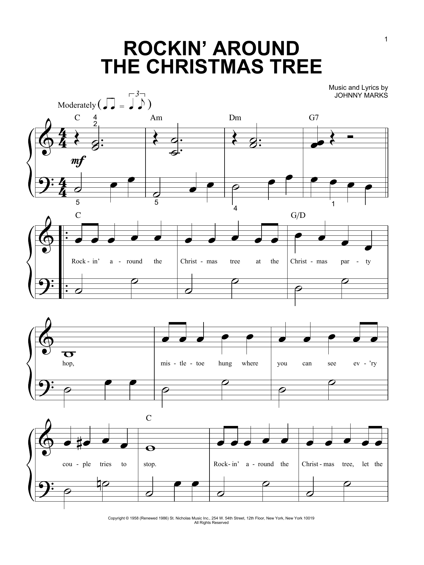 Rockin' Around The Christmas Tree (Big Note Piano)