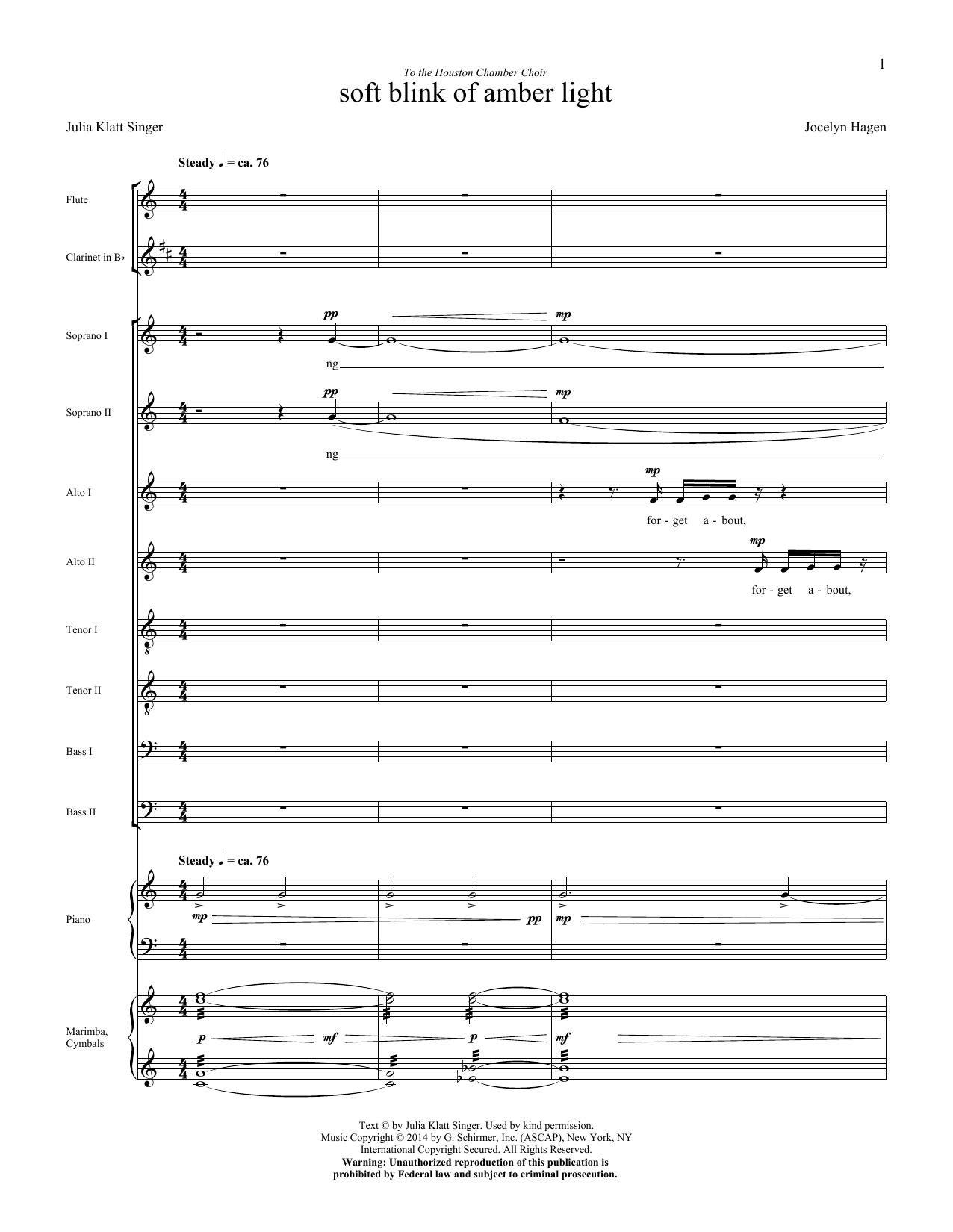 soft blink of amber light - Score Sheet Music