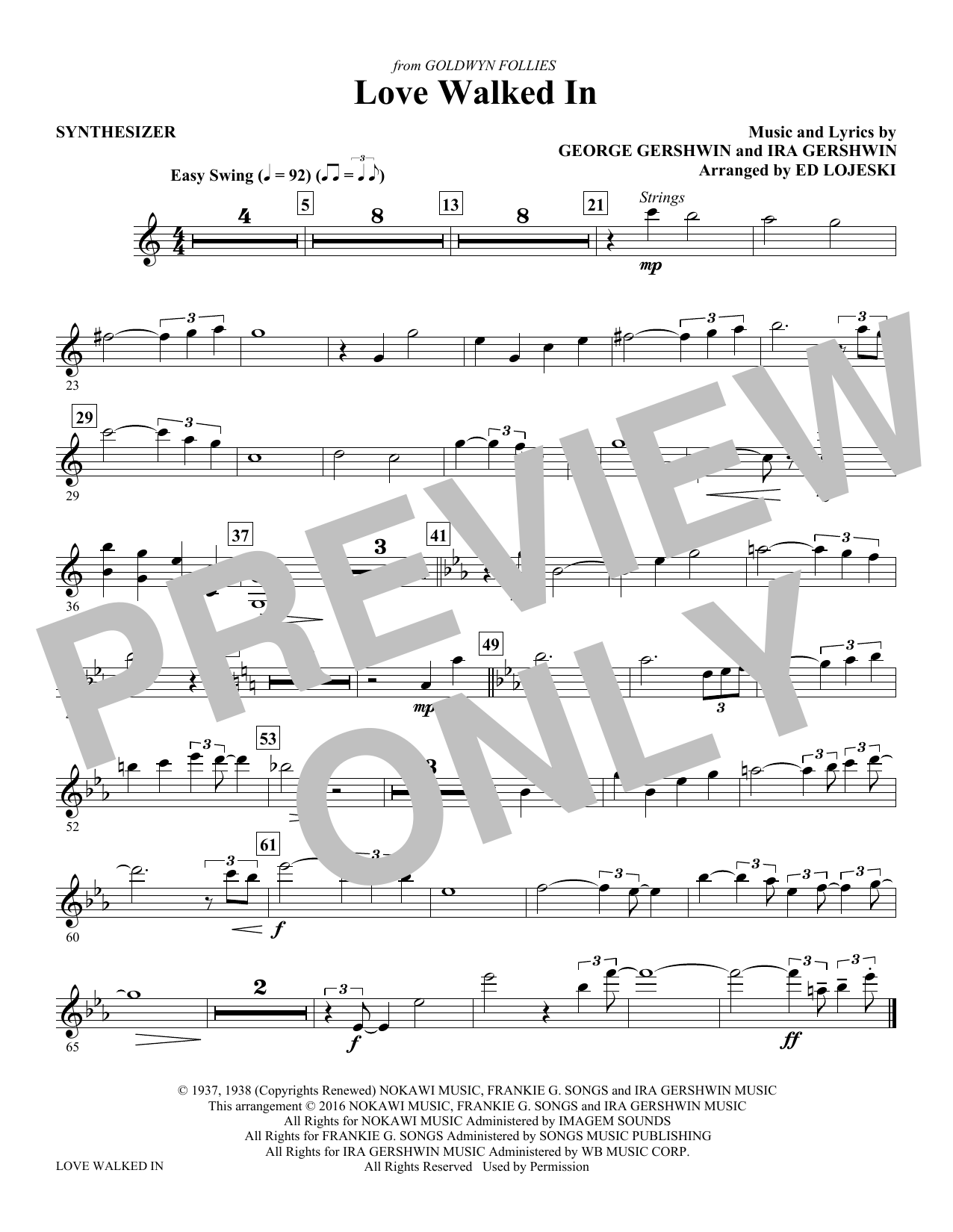 Love Walked In - Synthesizer Sheet Music