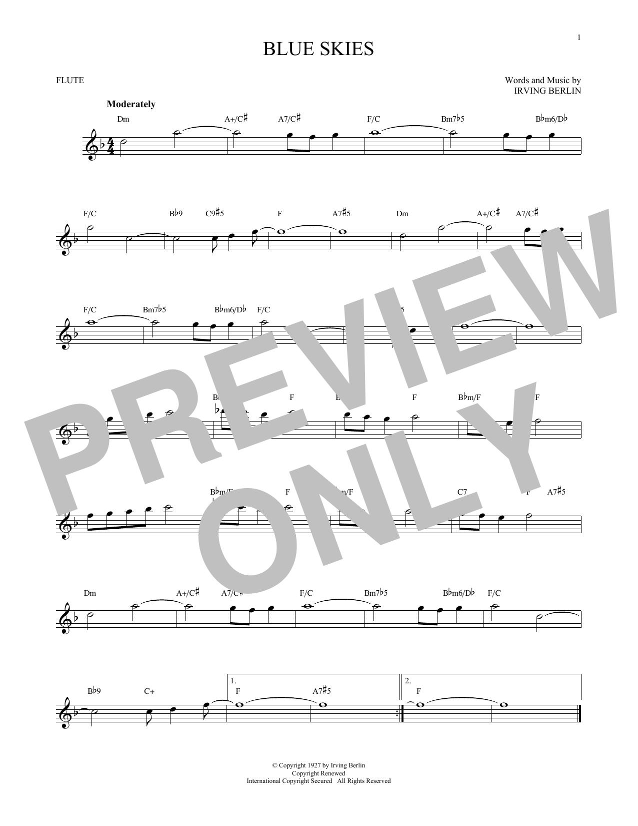 Partition flûte Blue Skies de Irving Berlin - Flute traversiere