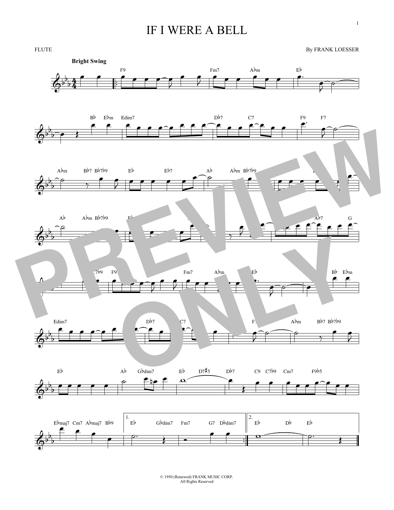 Partition flûte If I Were A Bell de Frank Loesser - Flute traversiere