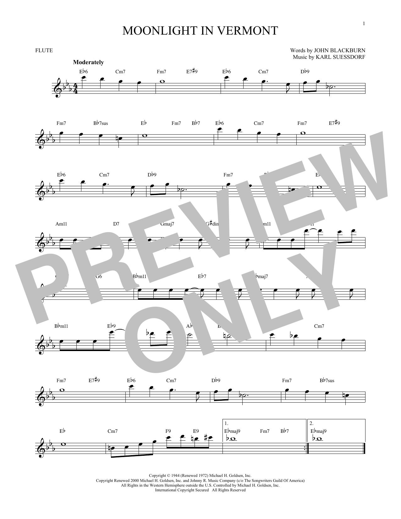 Partition flûte Moonlight In Vermont de Karl Suessdorf - Flute traversiere