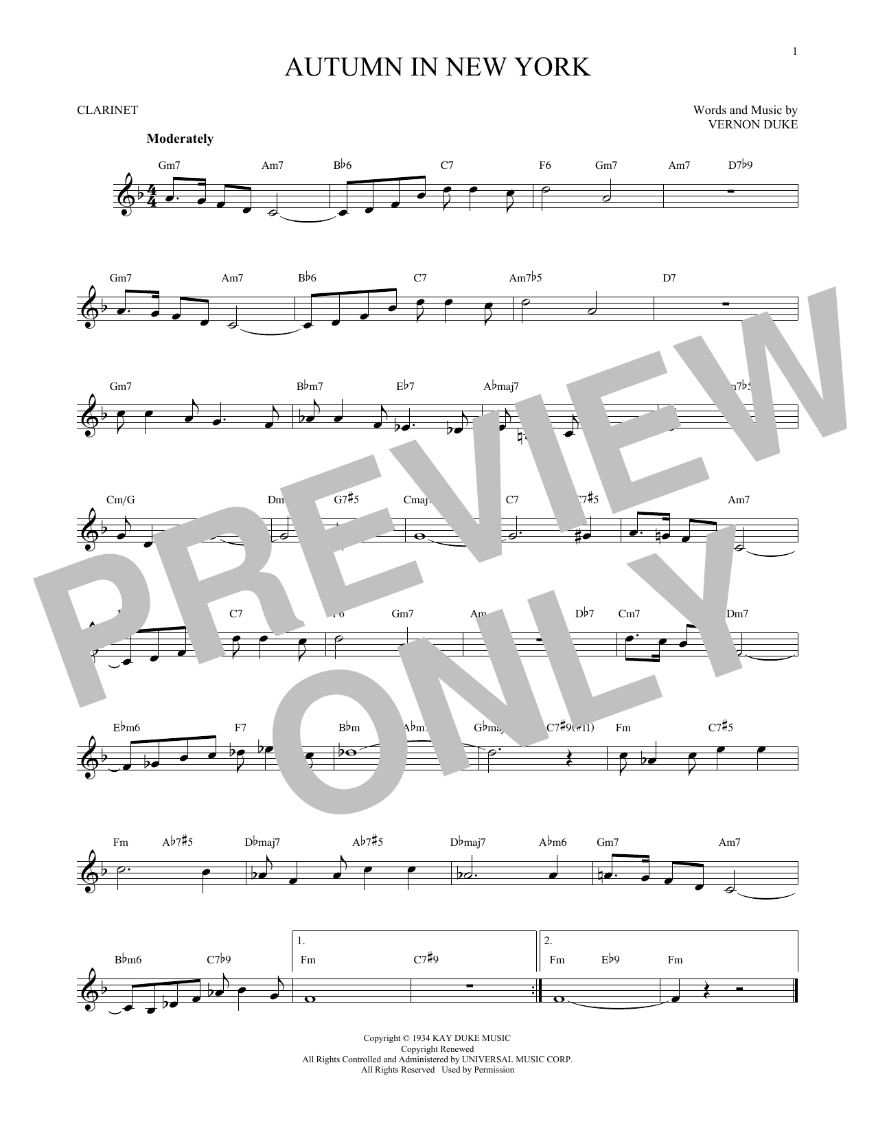 autumn in new york lead sheet pdf