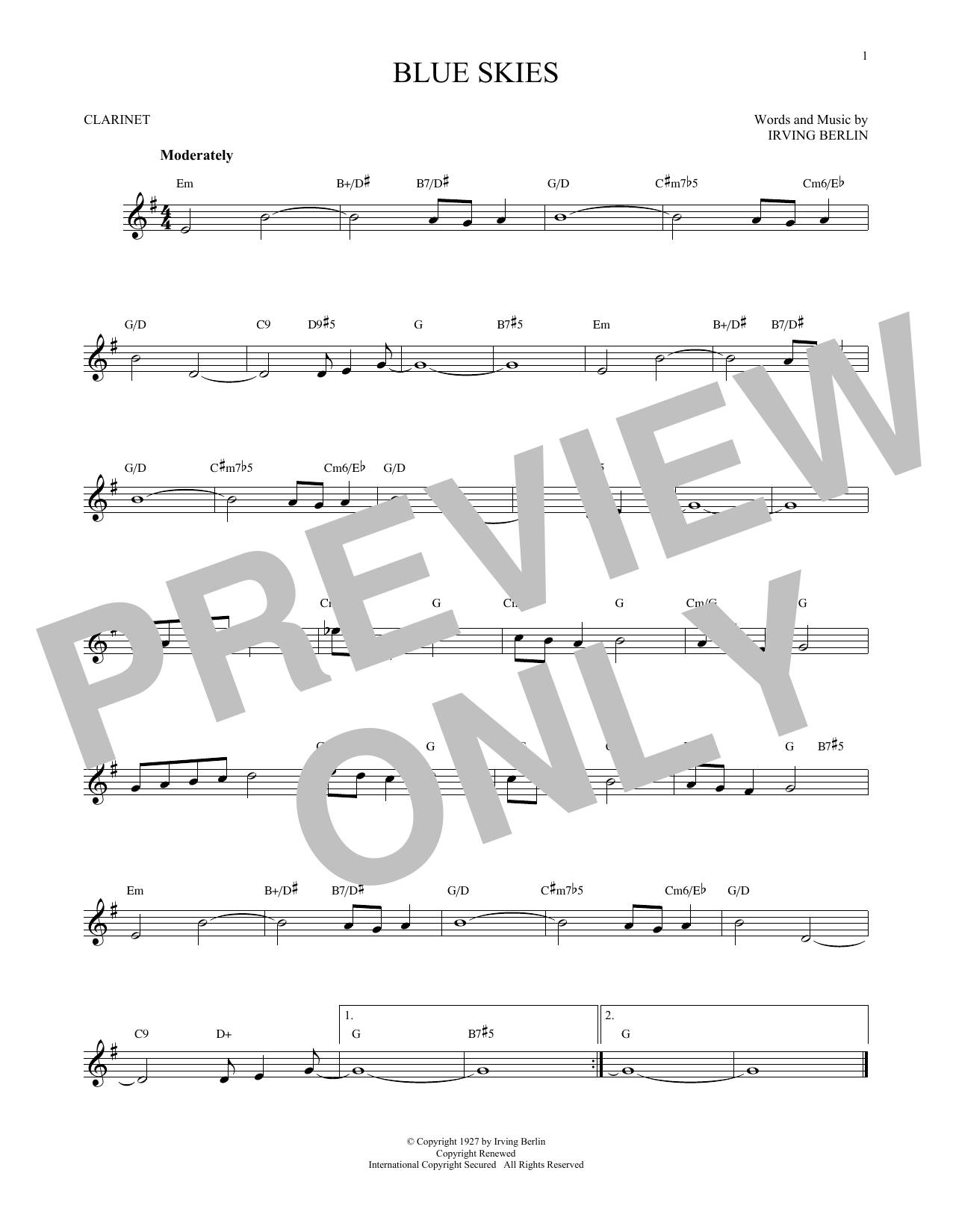 Partition clarinette Blue Skies de Irving Berlin - Clarinette