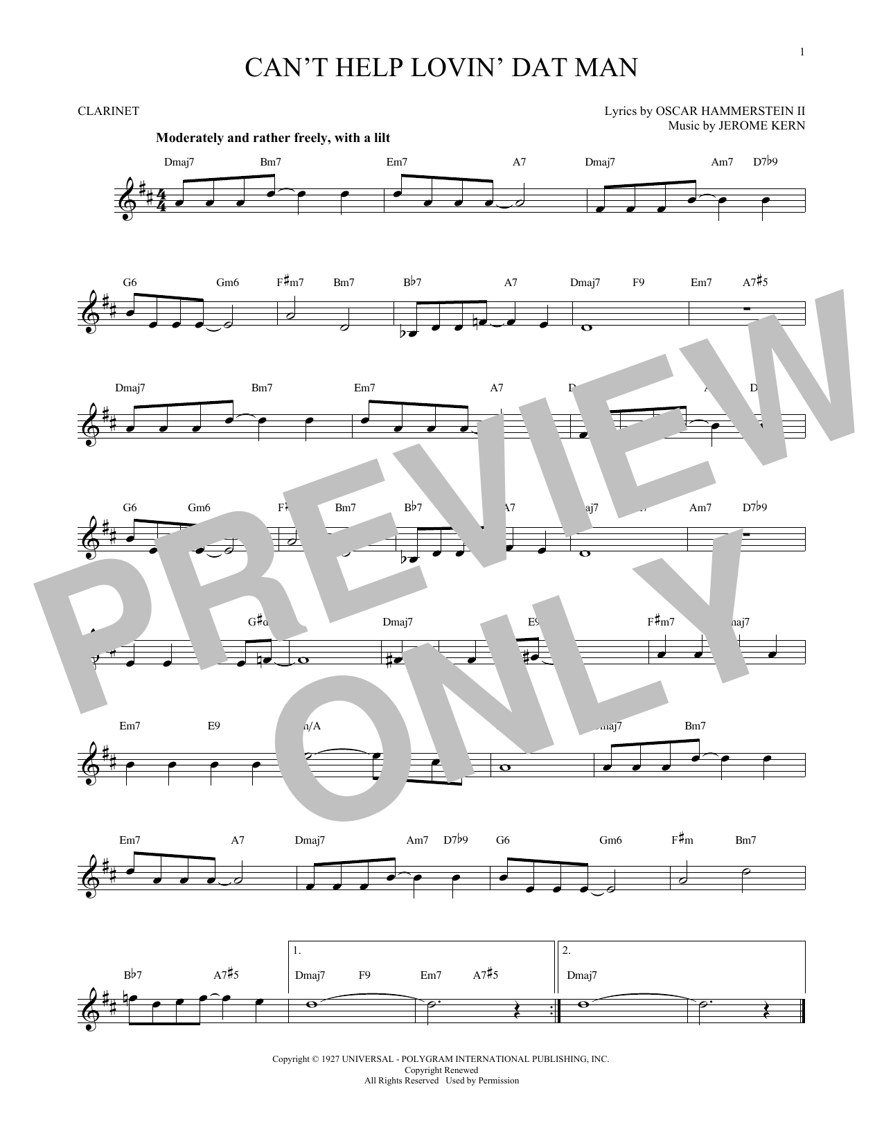 Partition clarinette Can't Help Lovin' Dat Man de Jerome Kern - Autre