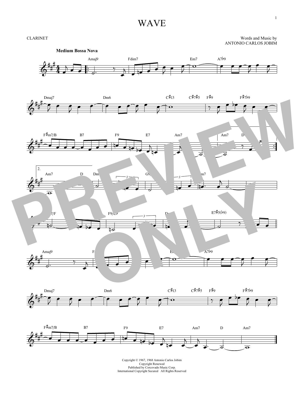 Partition clarinette Wave de Antonio Carlos Jobim - Clarinette