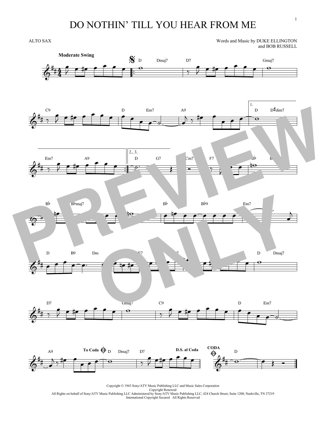 Do Nothin' Till You Hear From Me (Alto Sax Solo)