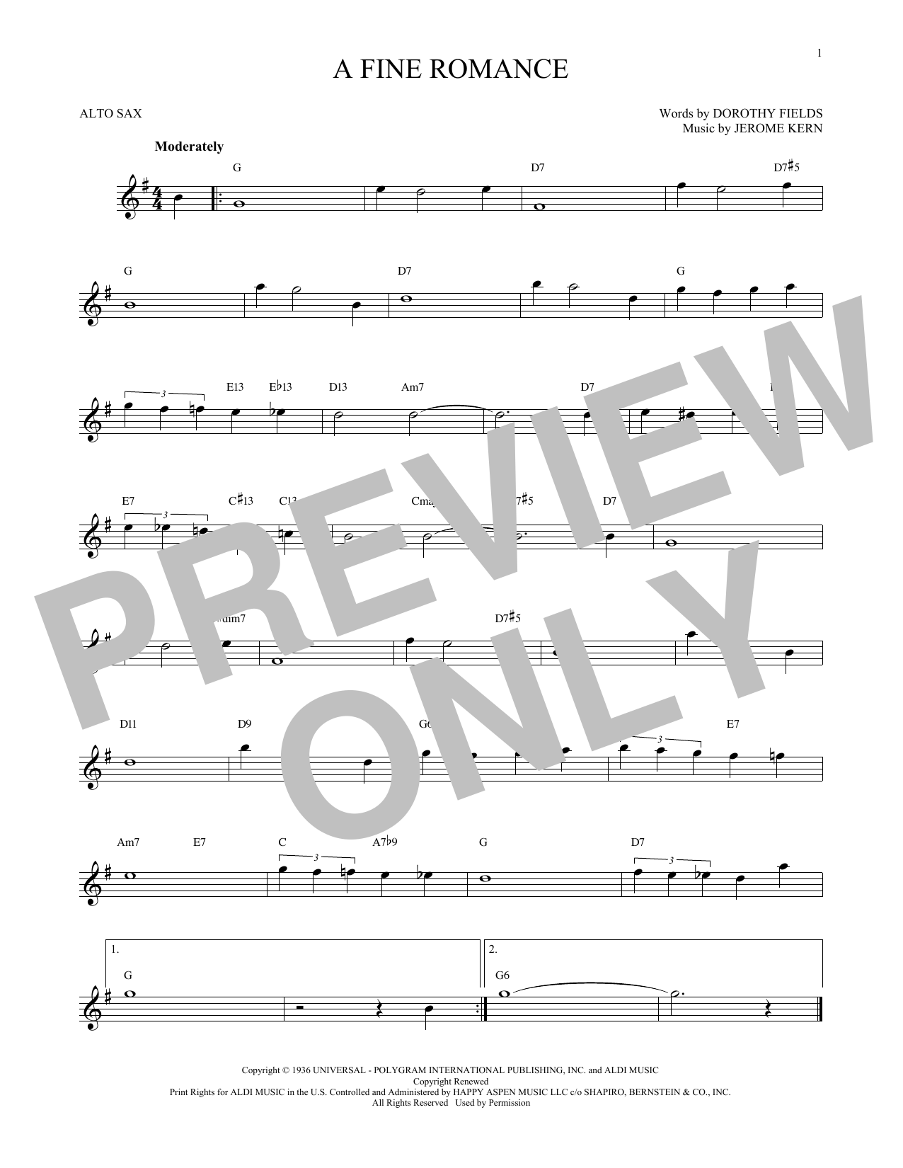 Partition saxophone A Fine Romance de Jerome Kern - Sax Alto