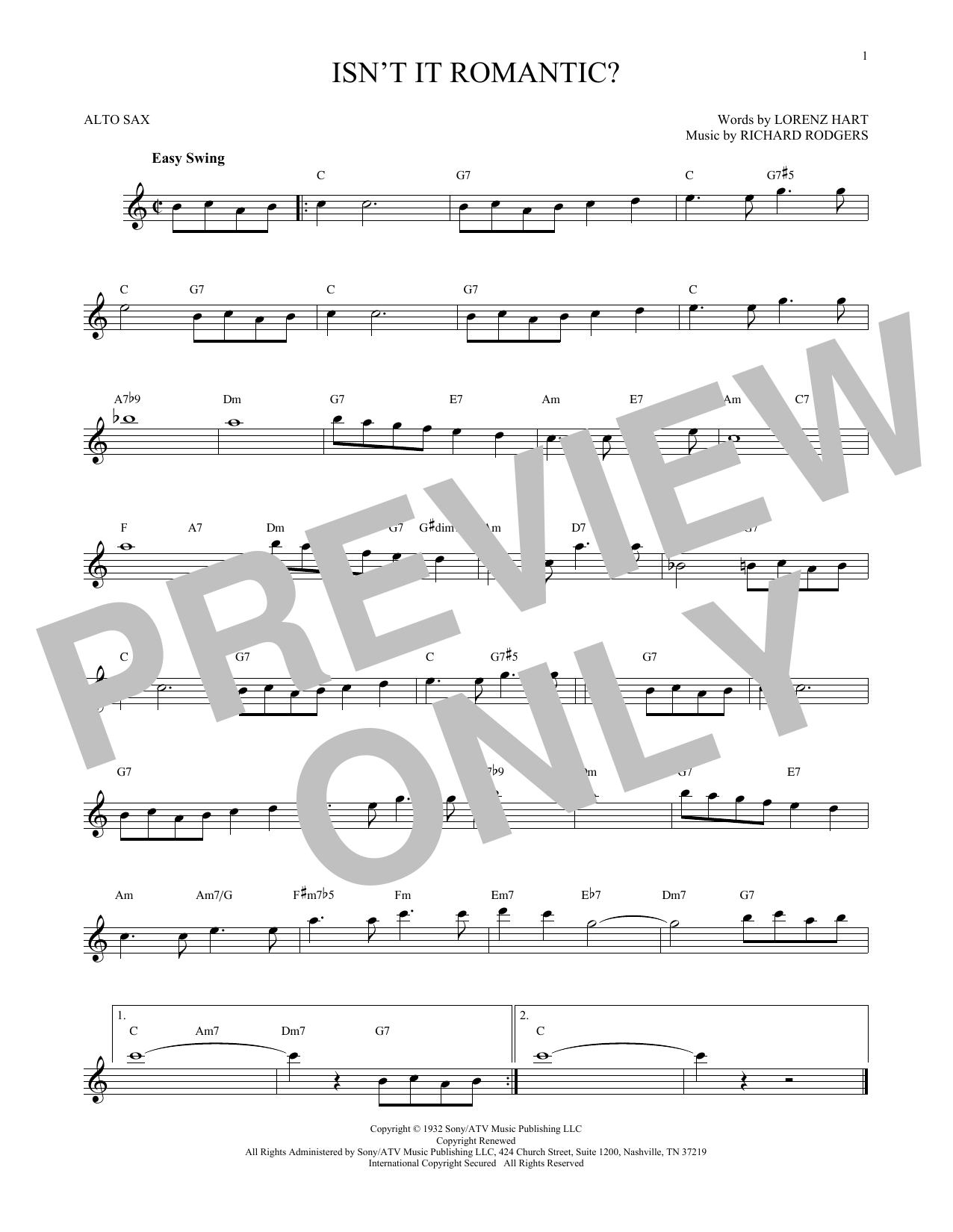 Partition saxophone Isn't It Romantic? de Rodgers & Hart - Sax Alto