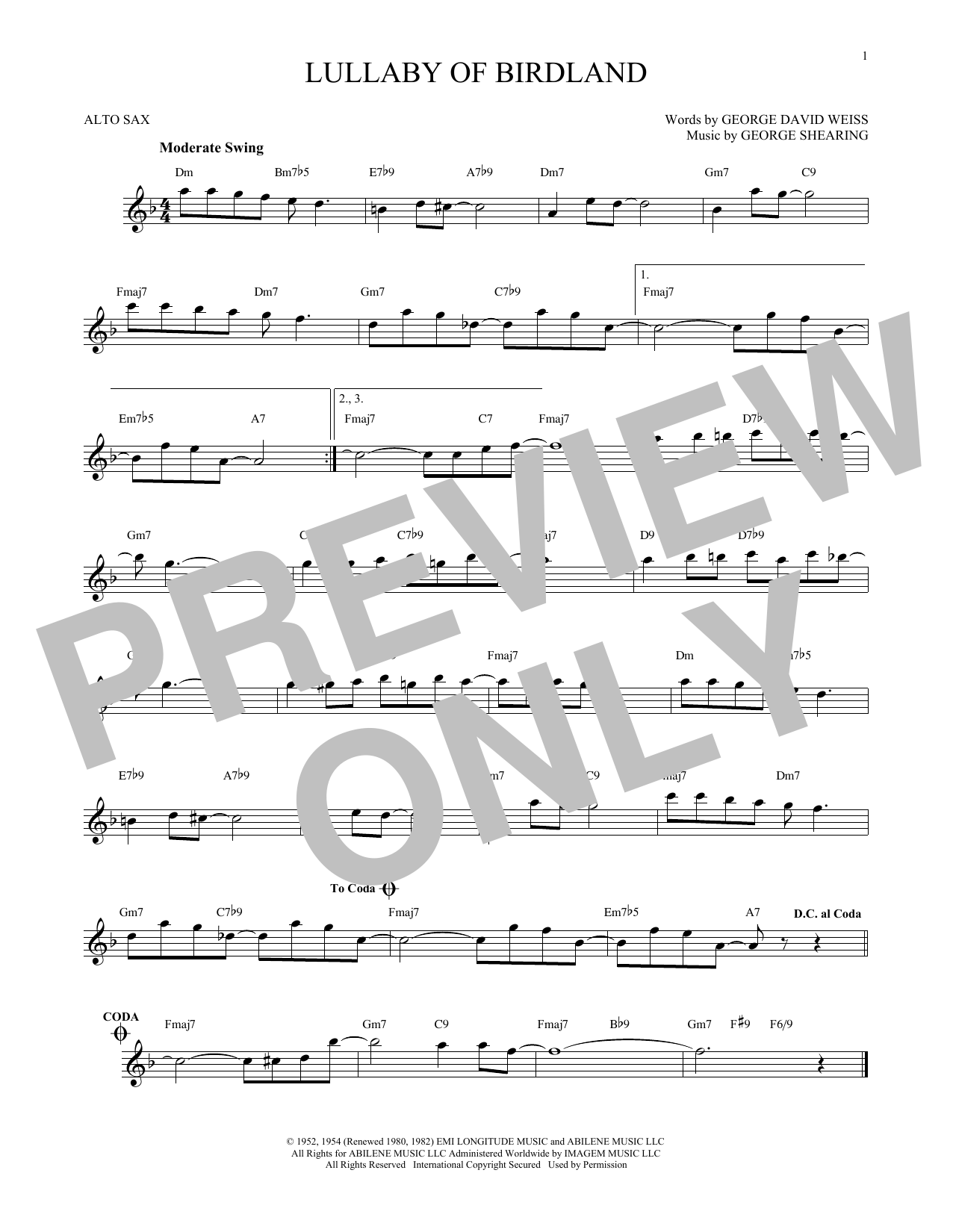 page one of Lullaby Of BirdlandASALTTEXT
