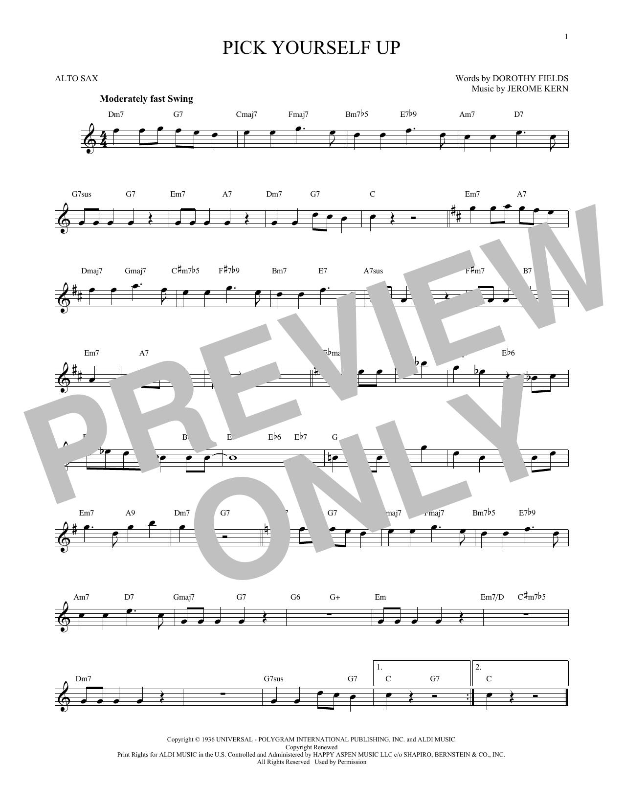 Partition saxophone Pick Yourself Up de Jerome Kern - Sax Alto