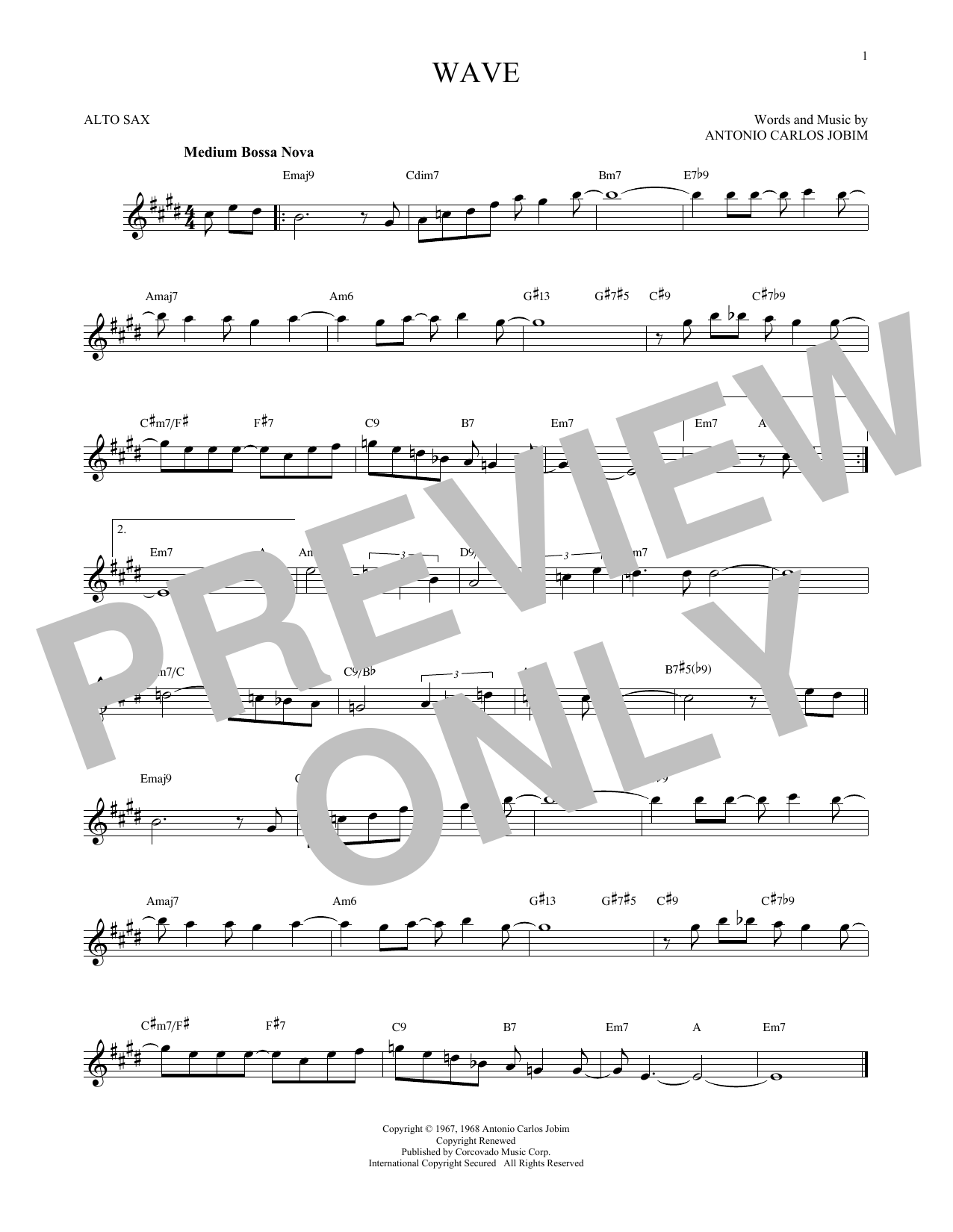 Partition saxophone Wave de Antonio Carlos Jobim - Sax Alto