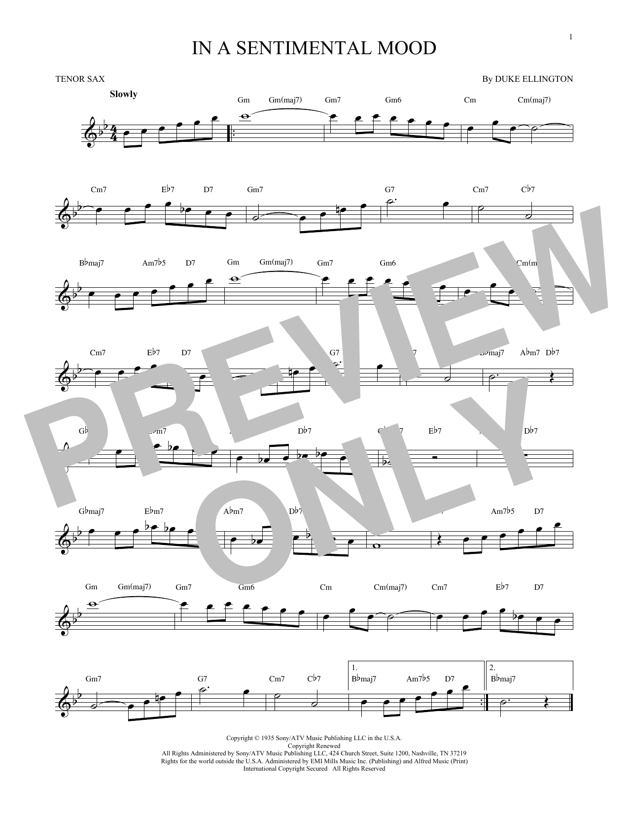 In A Sentimental Mood Sheet Music