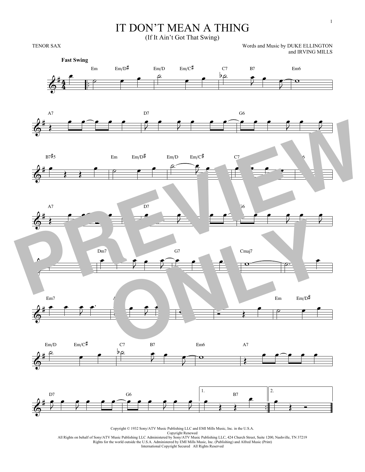 It Don't Mean A Thing (If It Ain't Got That Swing) Sheet Music