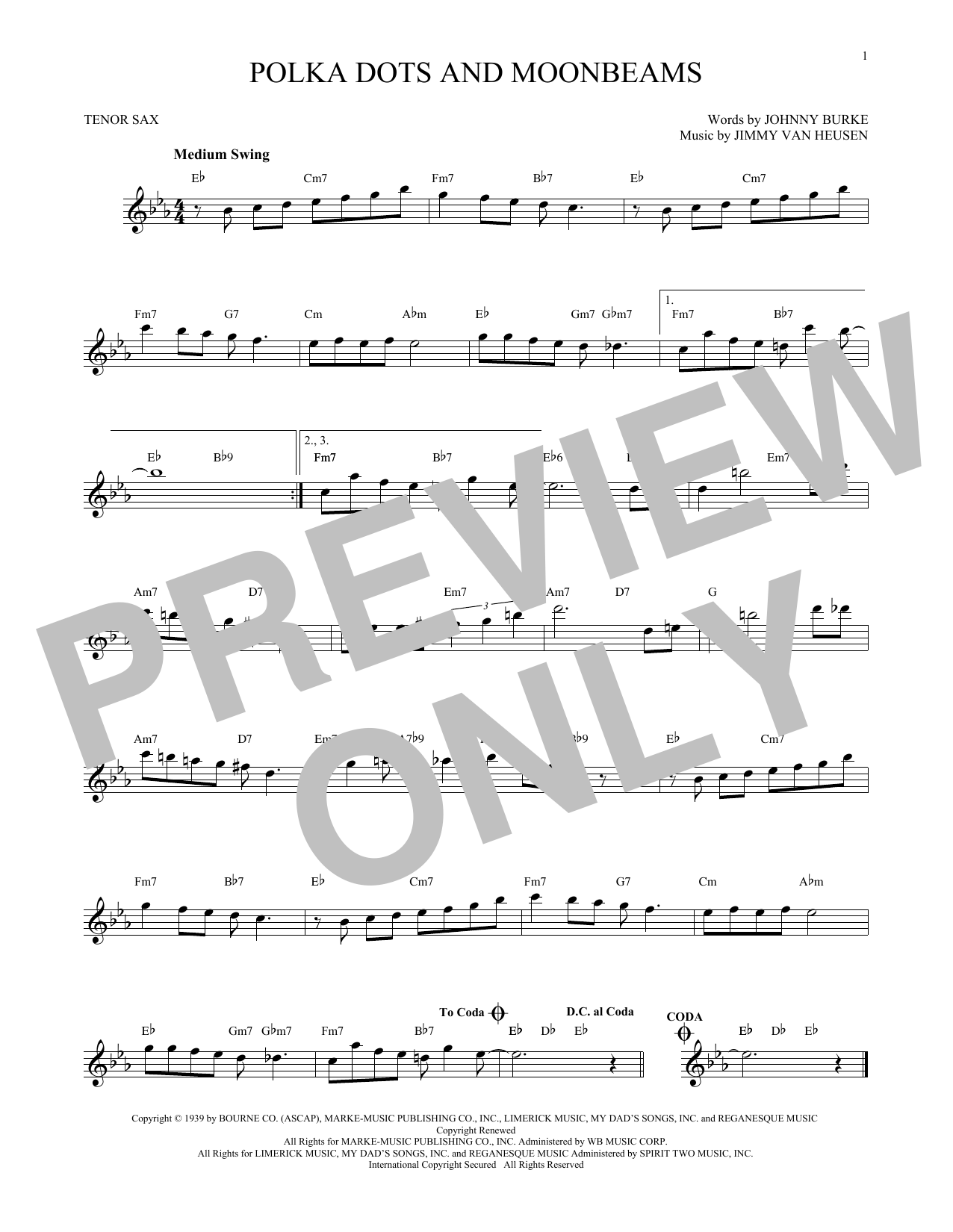 Polka Dots And Moonbeams (Tenor Sax Solo)