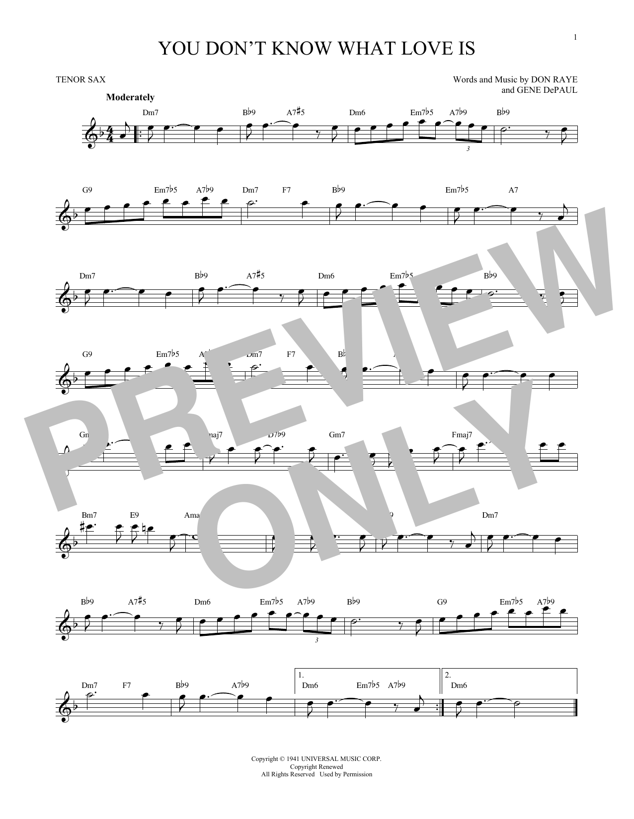 Partition saxophone You Don't Know What Love Is de Don Raye - Autre