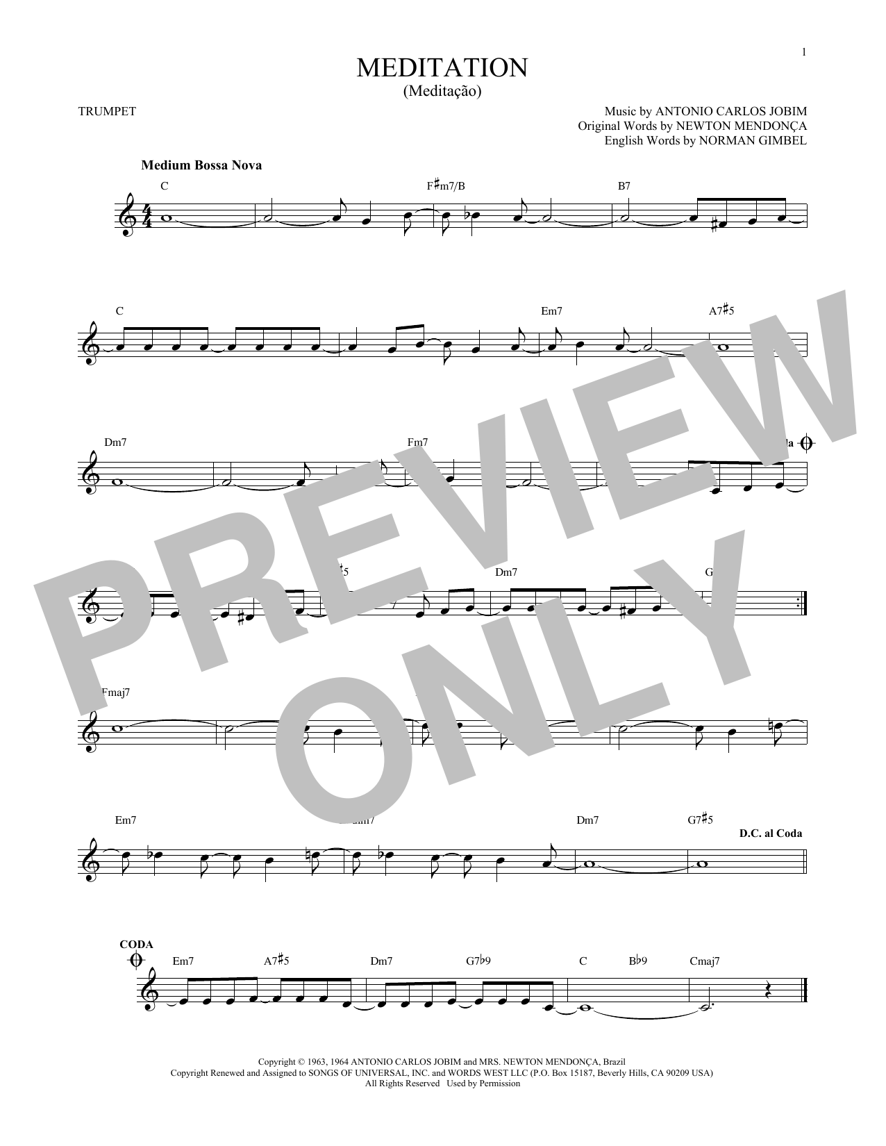 Partition autre Meditation (Meditacao) de Antonio Carlos Jobim - Trompette