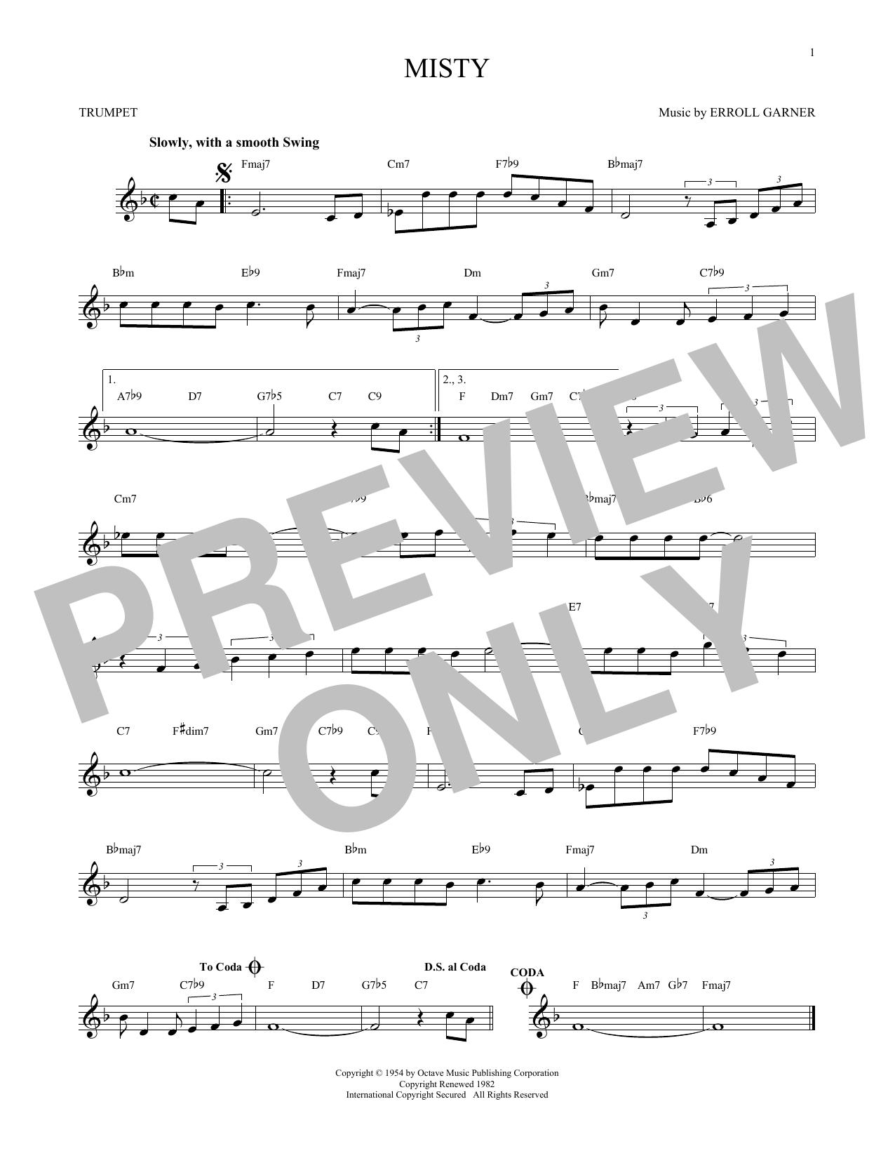 Partition autre Misty de Erroll Garner - Trompette