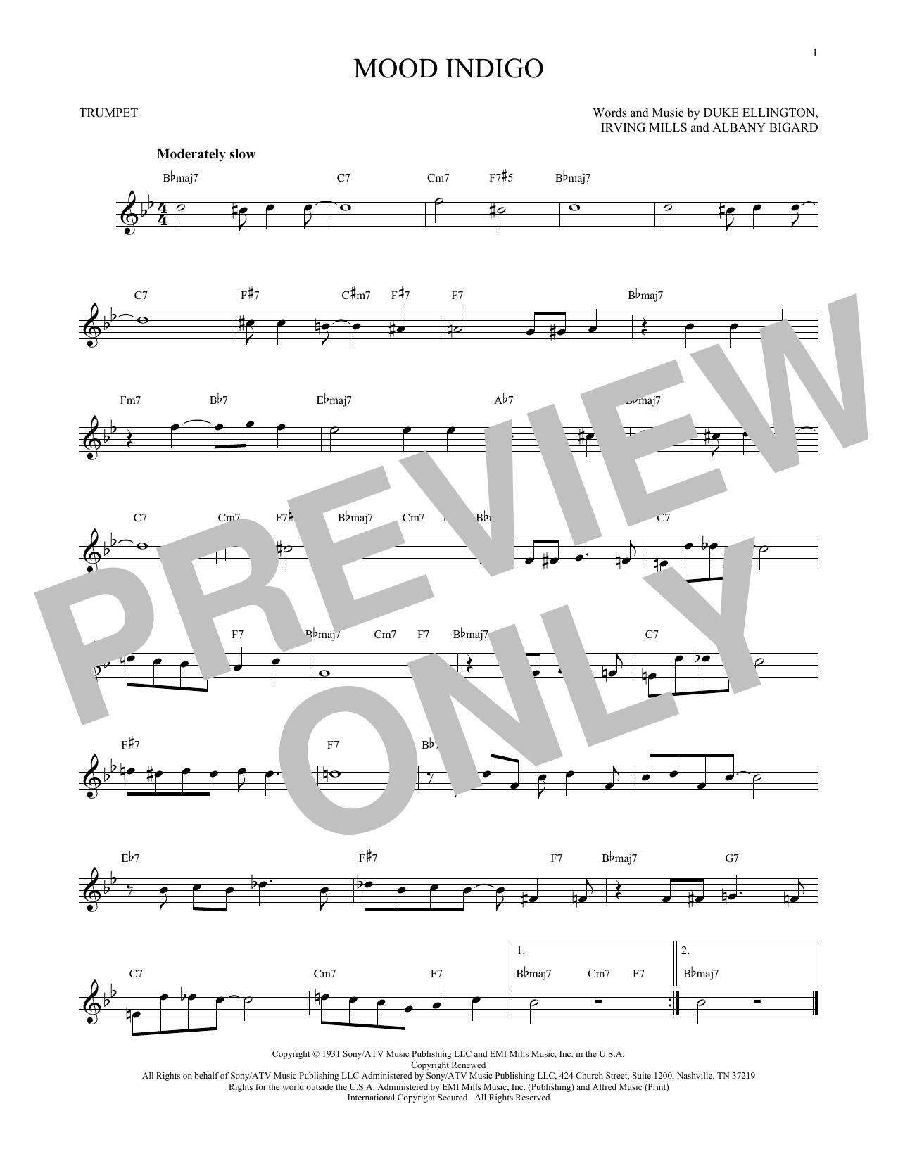 Partition autre Mood Indigo de Duke Ellington - Trompette