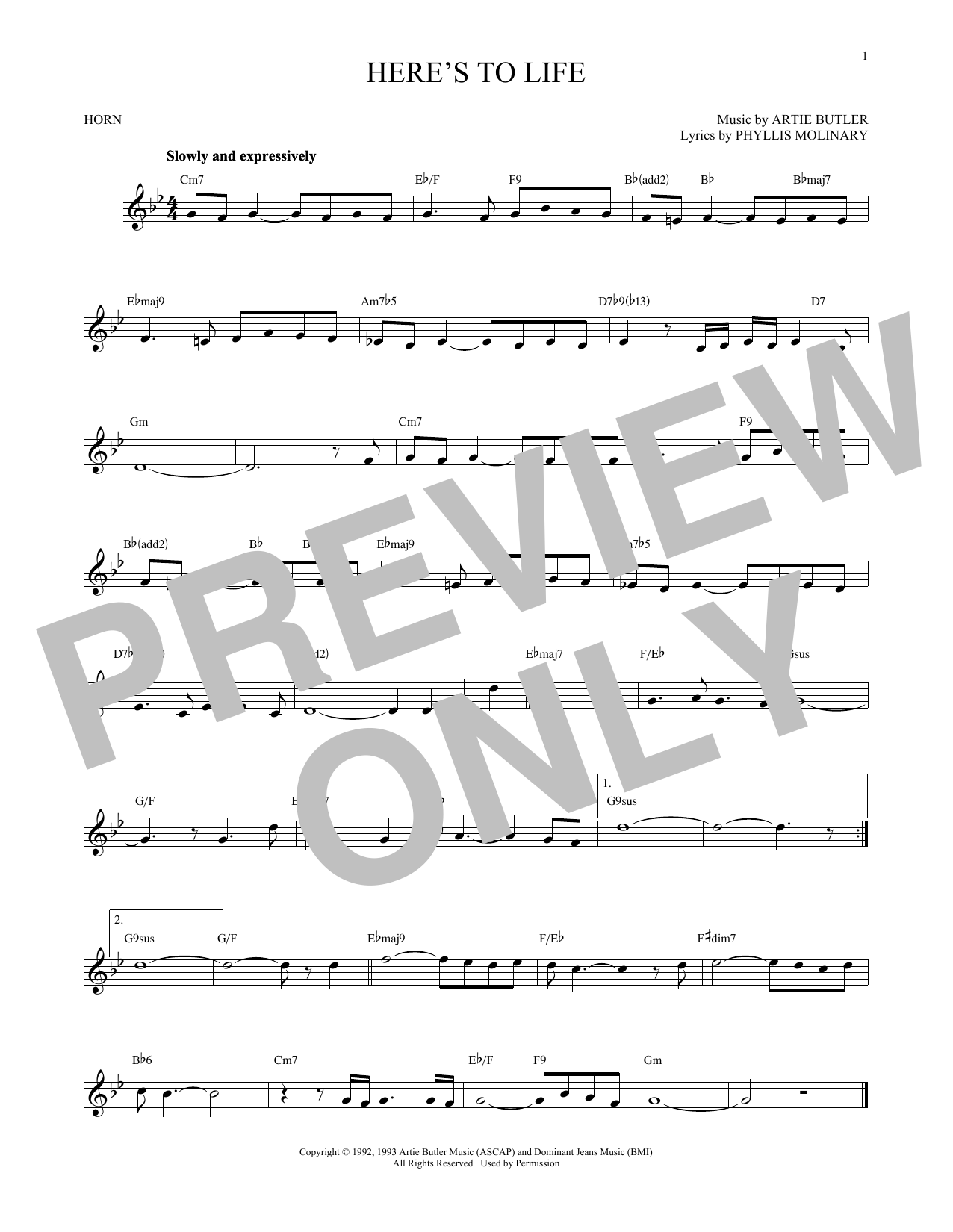 Here's To Life (French Horn Solo)