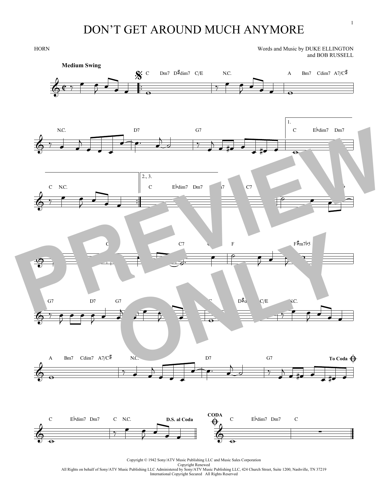 Don't Get Around Much Anymore (French Horn Solo)