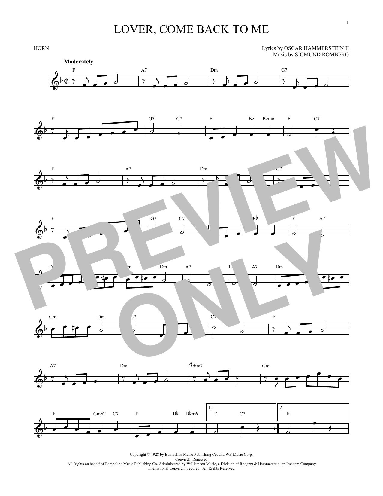 Lover, Come Back To Me (French Horn Solo)