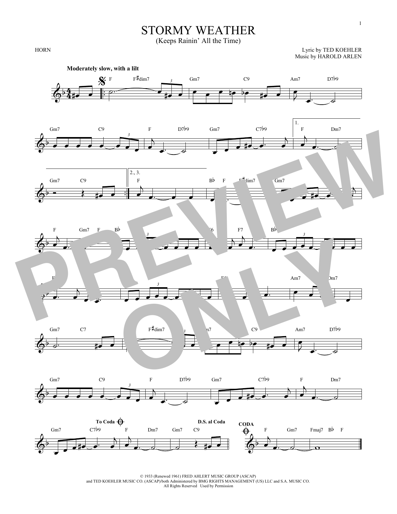 Stormy Weather (Keeps Rainin' All The Time) (French Horn Solo)