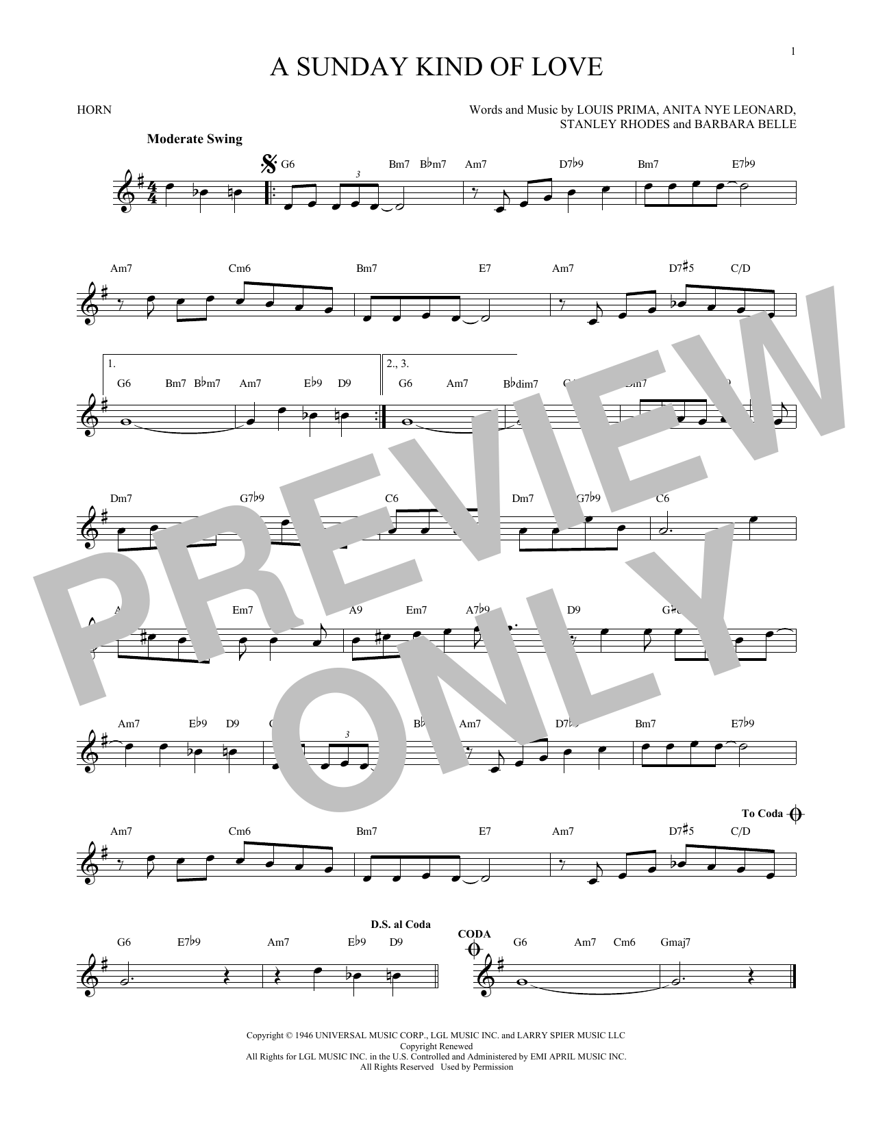 A Sunday Kind Of Love (French Horn Solo)