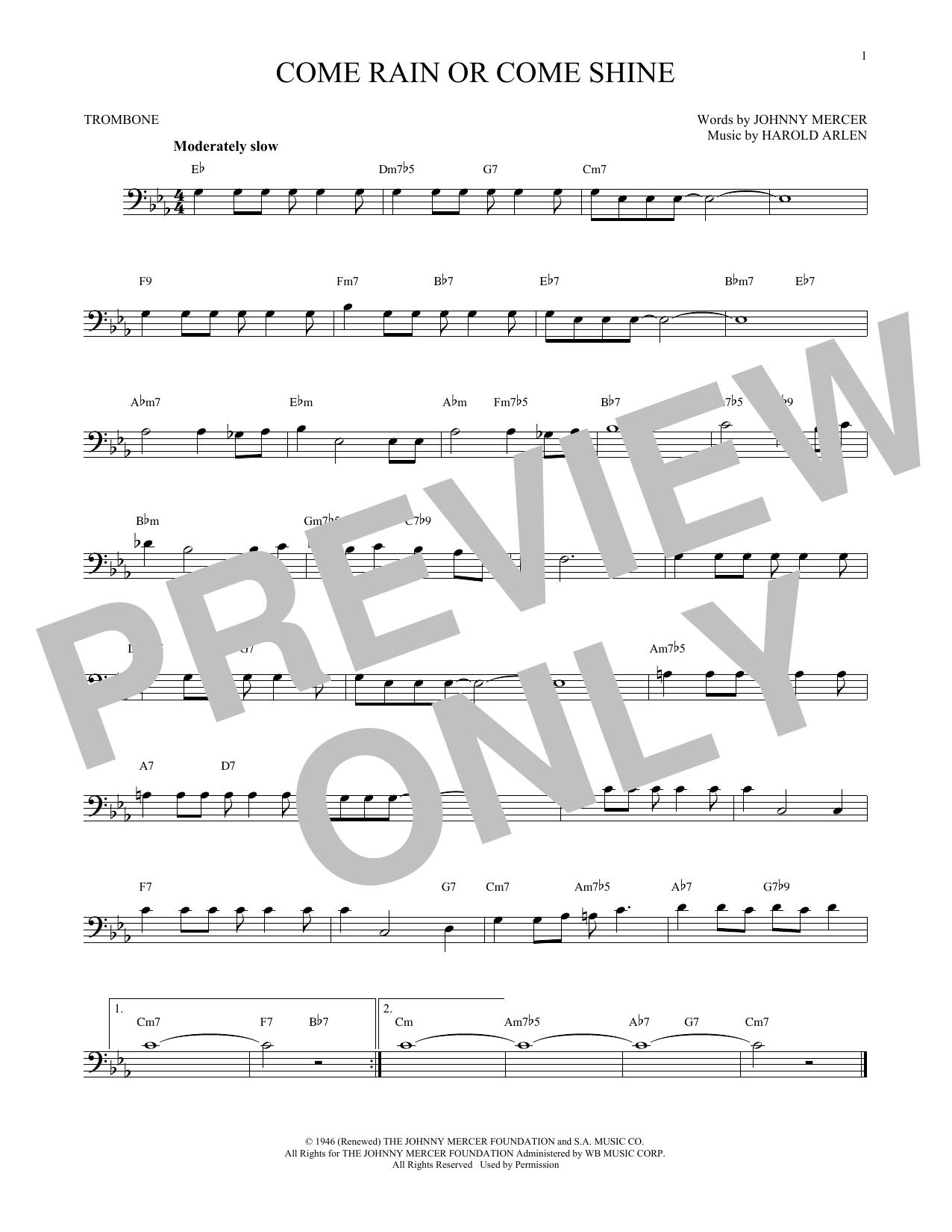 Partition autre Come Rain Or Come Shine de Harold Arlen - Trombone