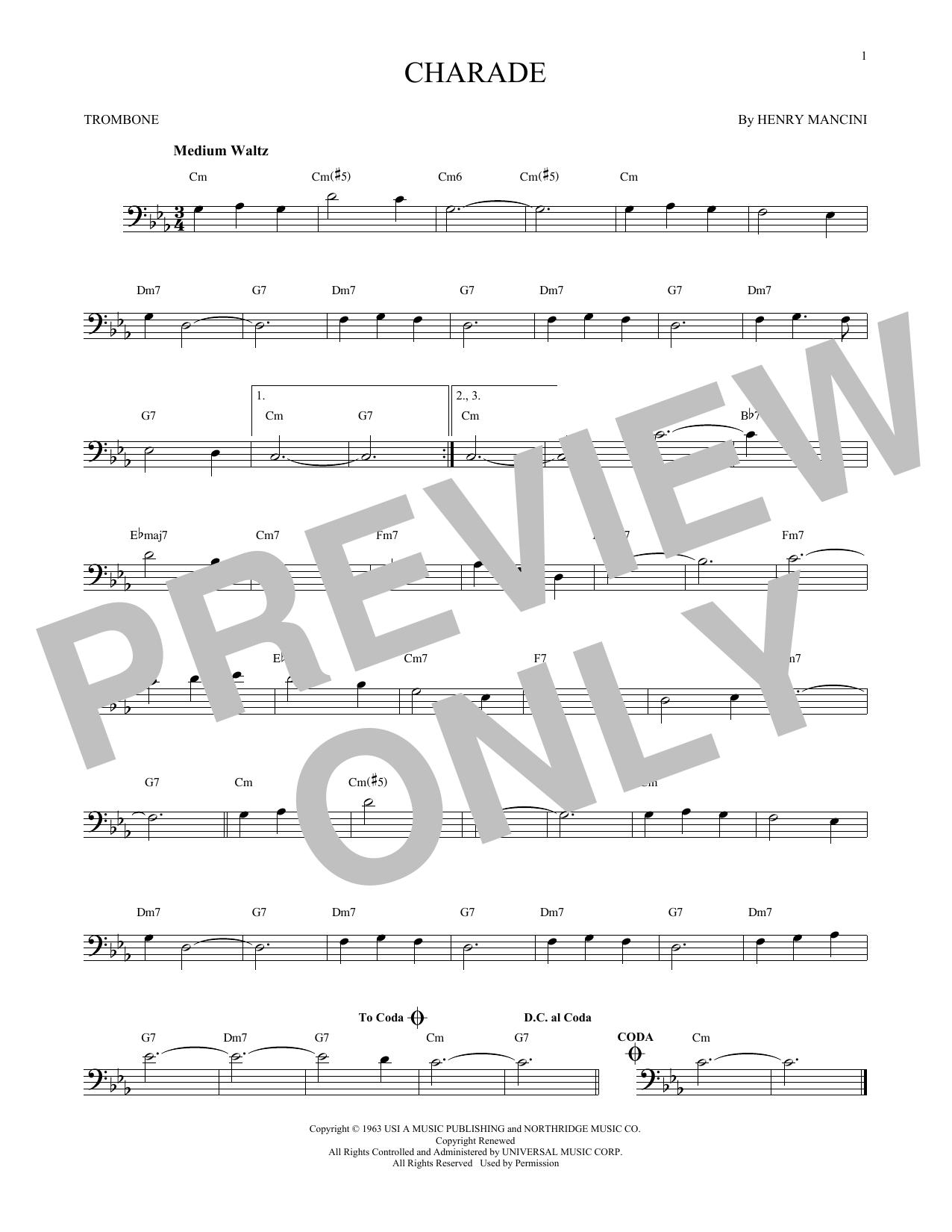 Partition autre Charade de Henry Mancini - Trombone