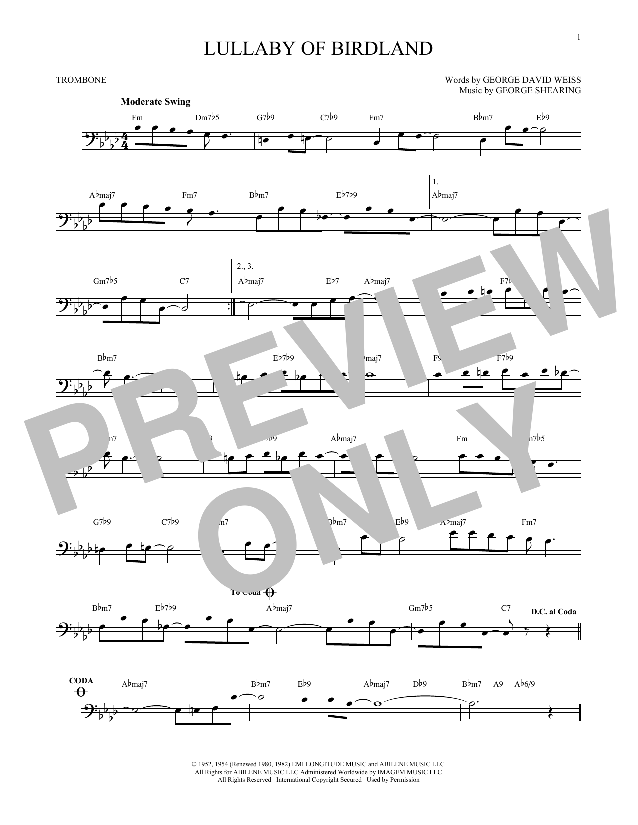 Partition autre Lullaby Of Birdland de George Shearing - Trombone