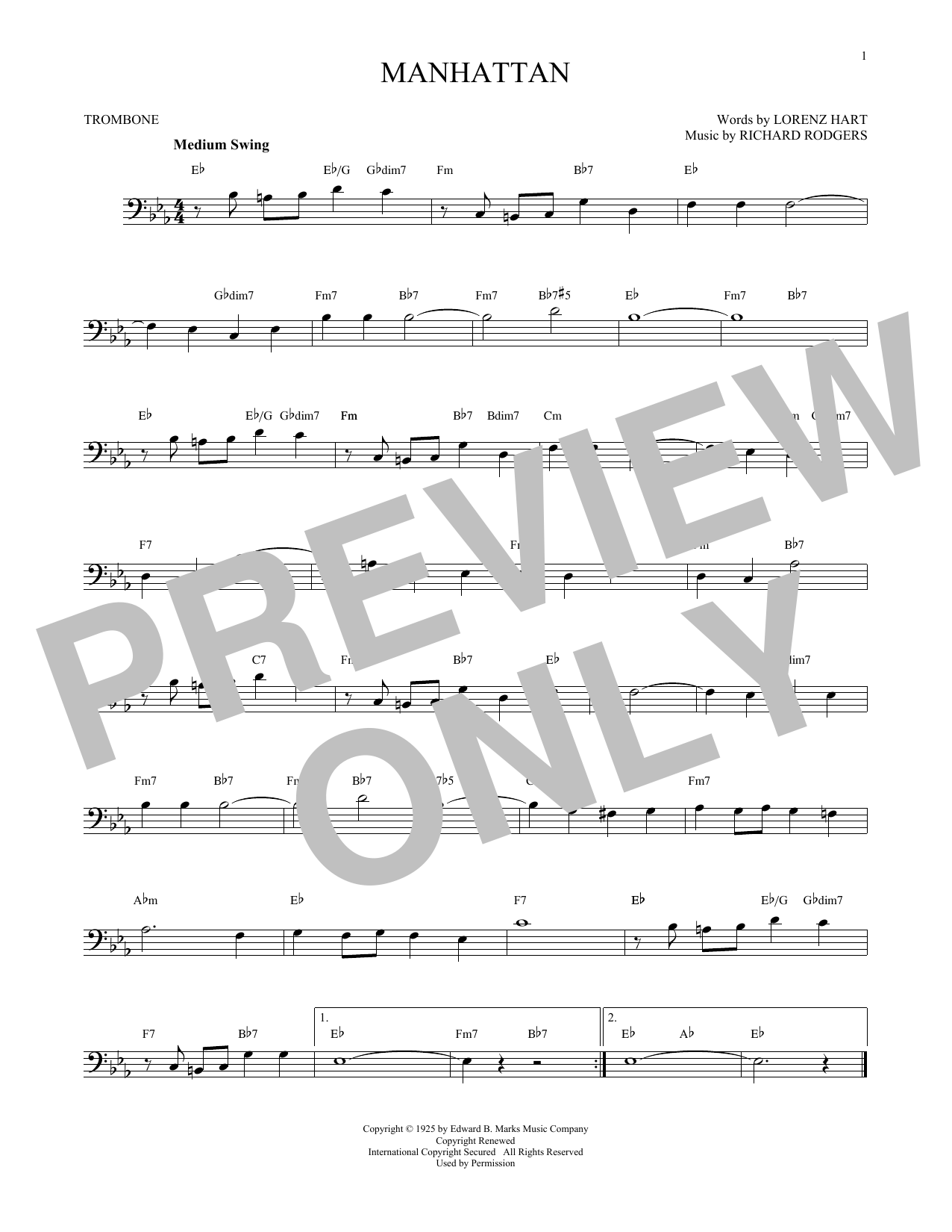 Partition autre Manhattan de Rodgers & Hart - Trombone