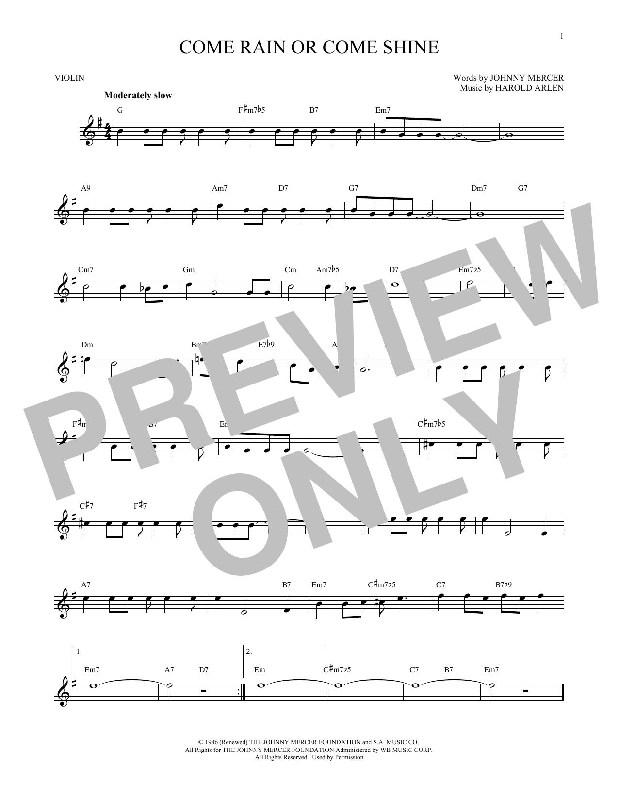 Come Rain Or Come Shine (Violin Solo)