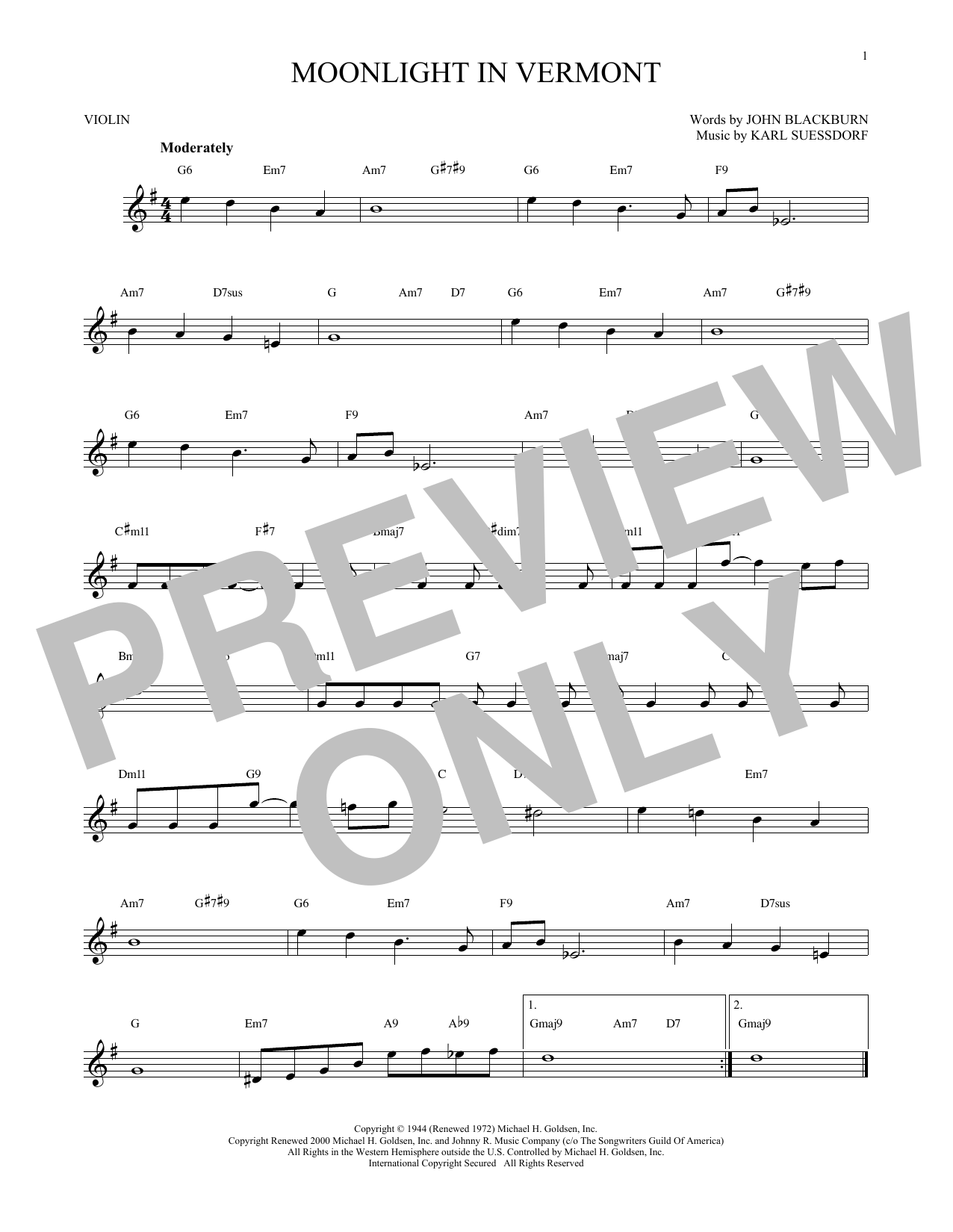 Moonlight In Vermont Sheet Music