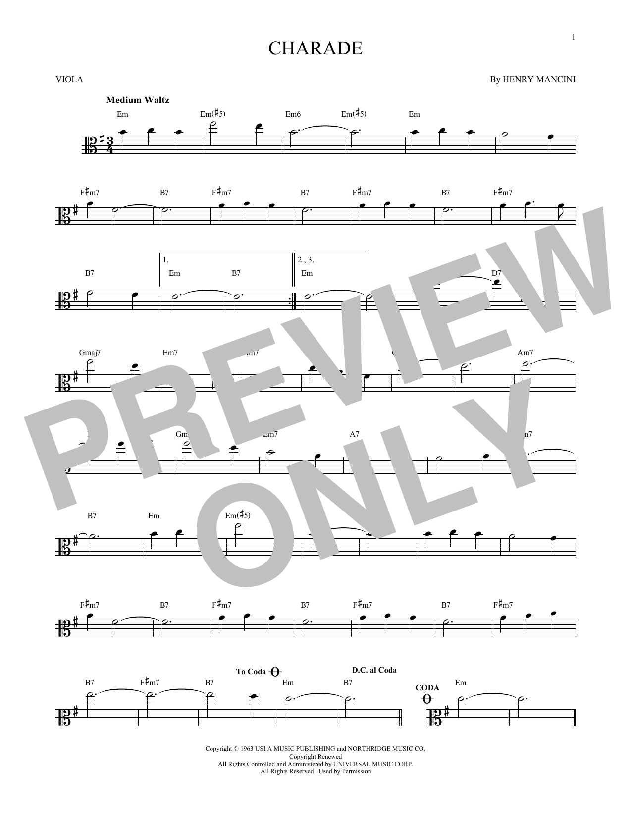Partition autre Charade de Henry Mancini - Alto