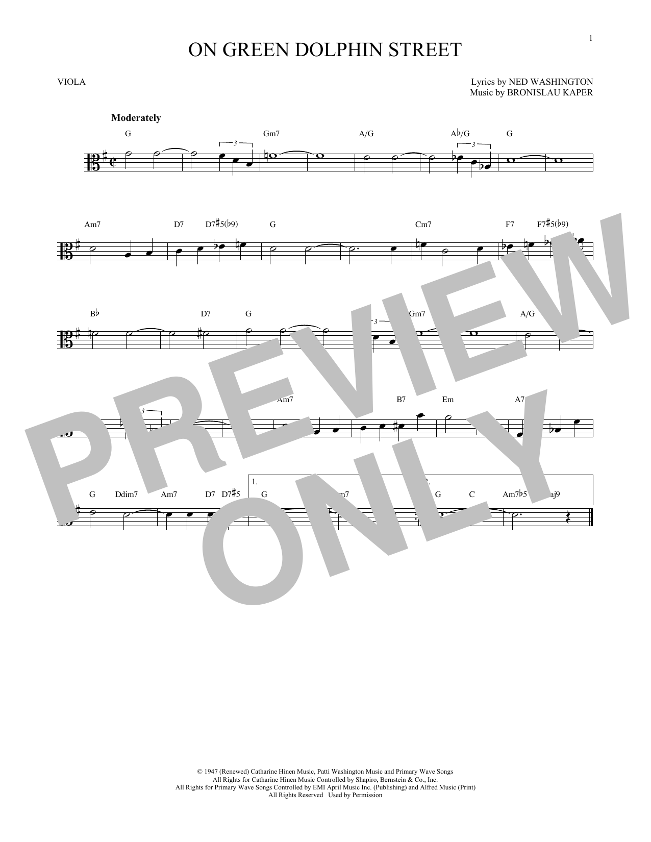 On Green Dolphin Street (Viola Solo)