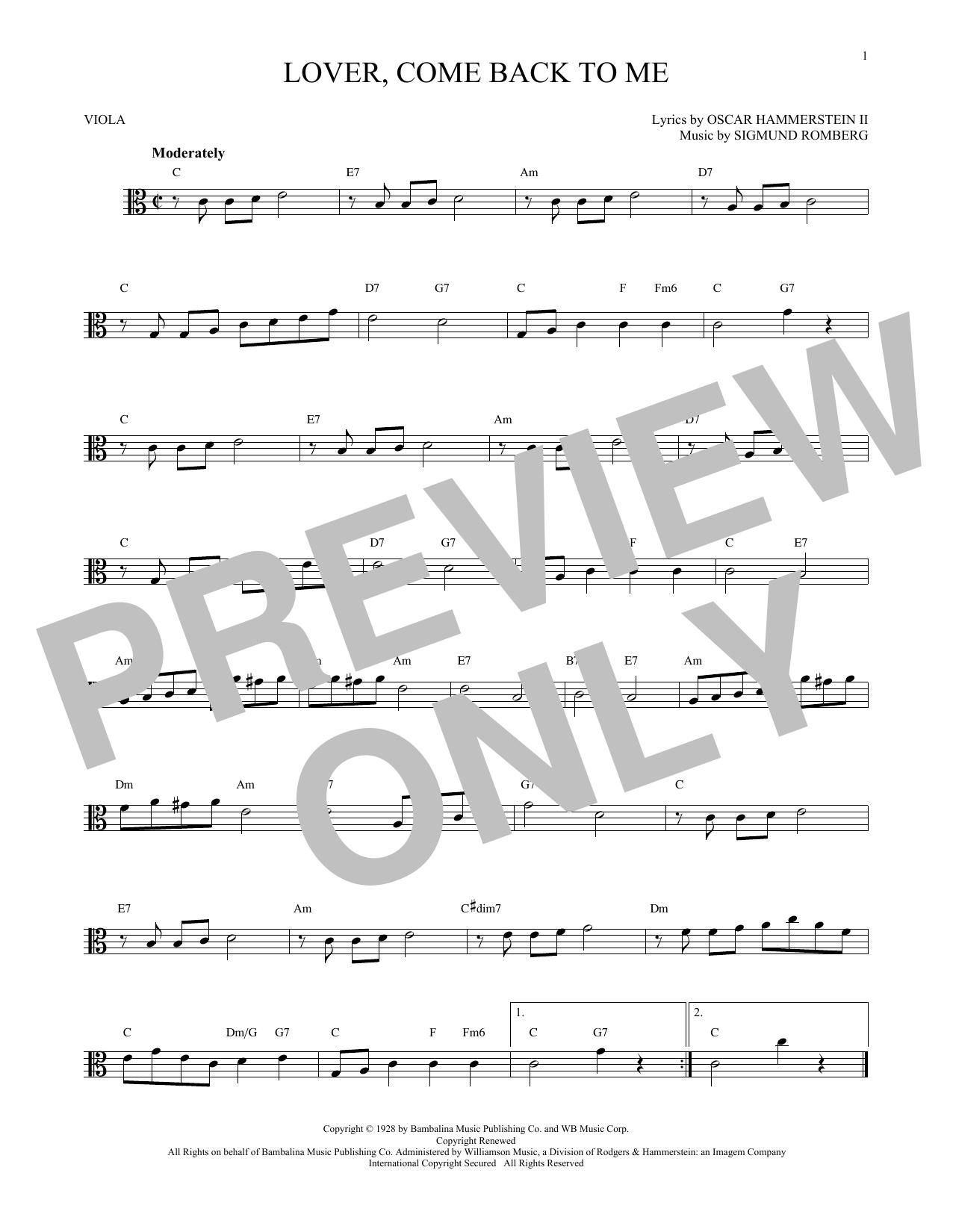 Lover, Come Back To Me (Viola Solo)