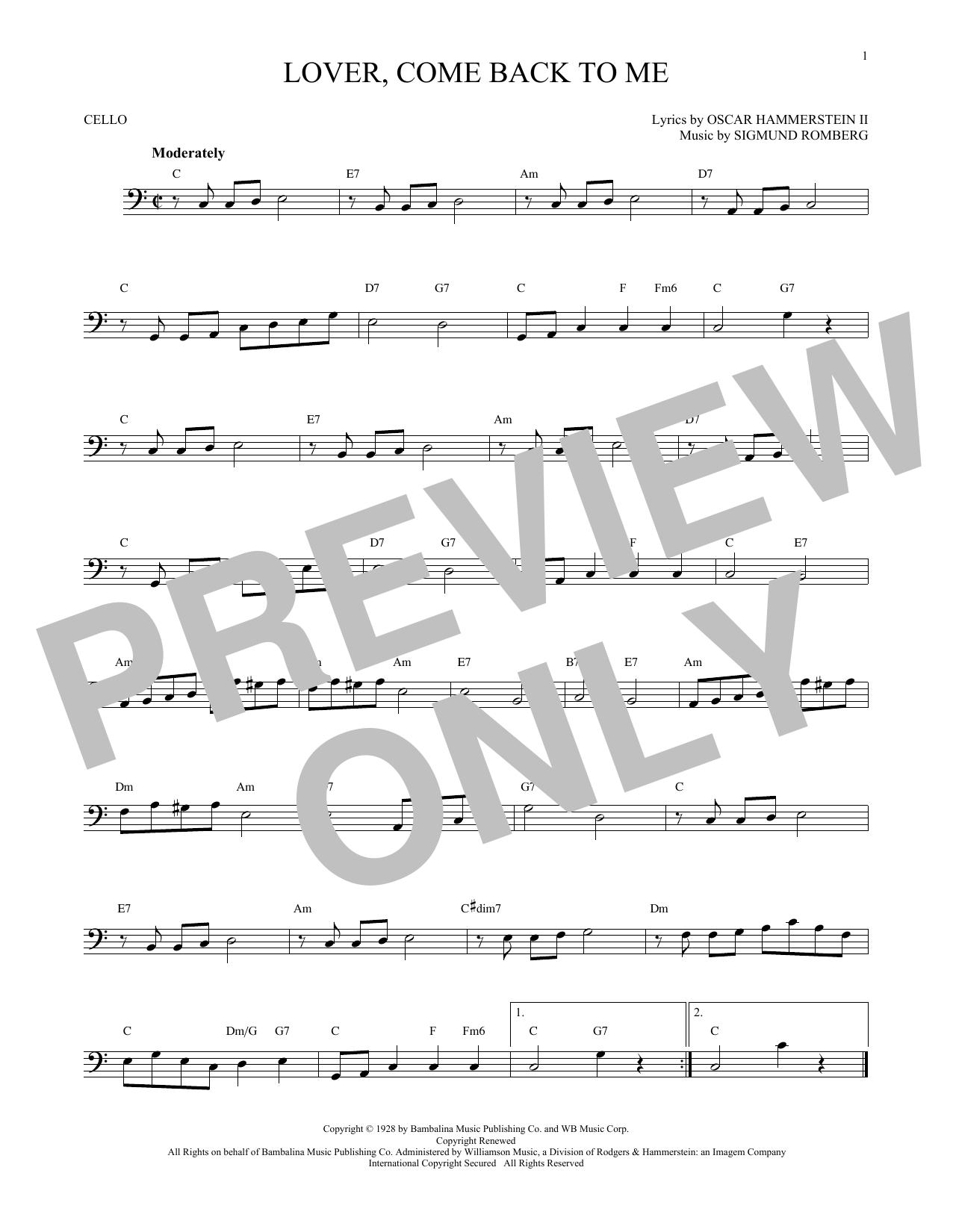 Lover, Come Back To Me (Cello Solo)